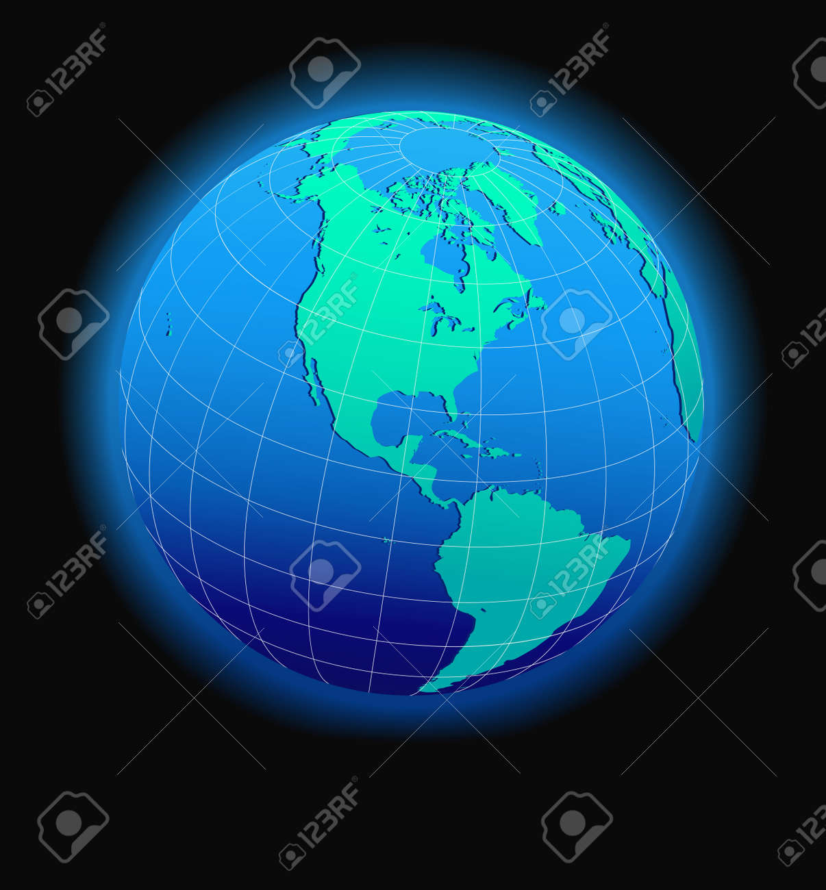 North And South America Global World In Space - Map Icon Of The ...