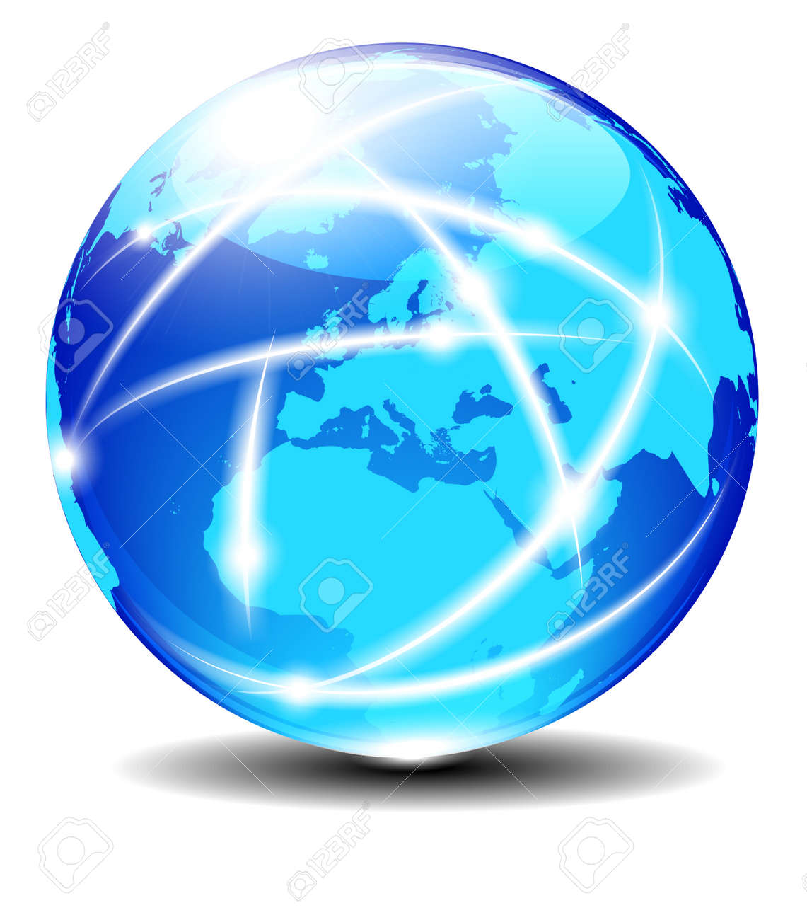 Europe Global Communication Planet with light lines Stock Vector - 17690715