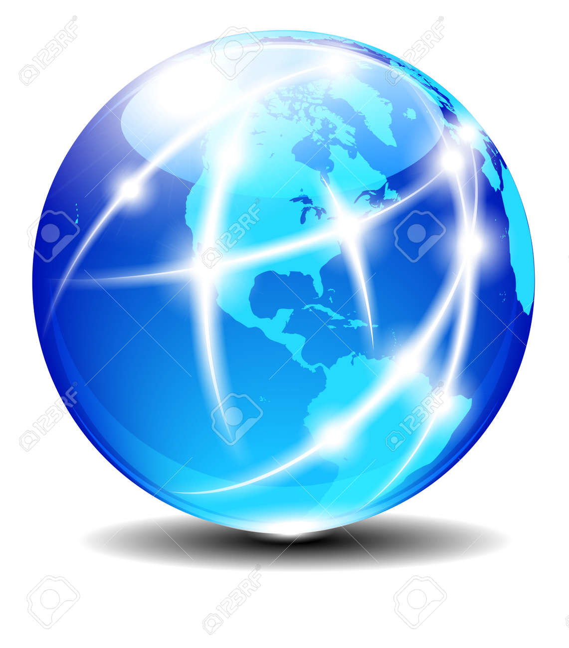 North and South America Global Communication Planet with light lines Stock Vector - 17690708