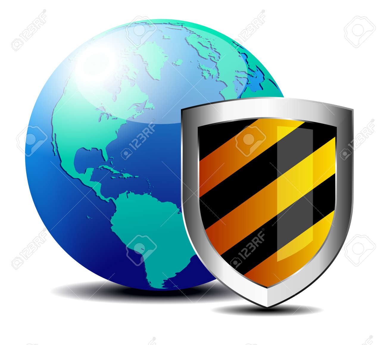 Shield with world depicting internet security - Safety America Stock Vector - 18060304