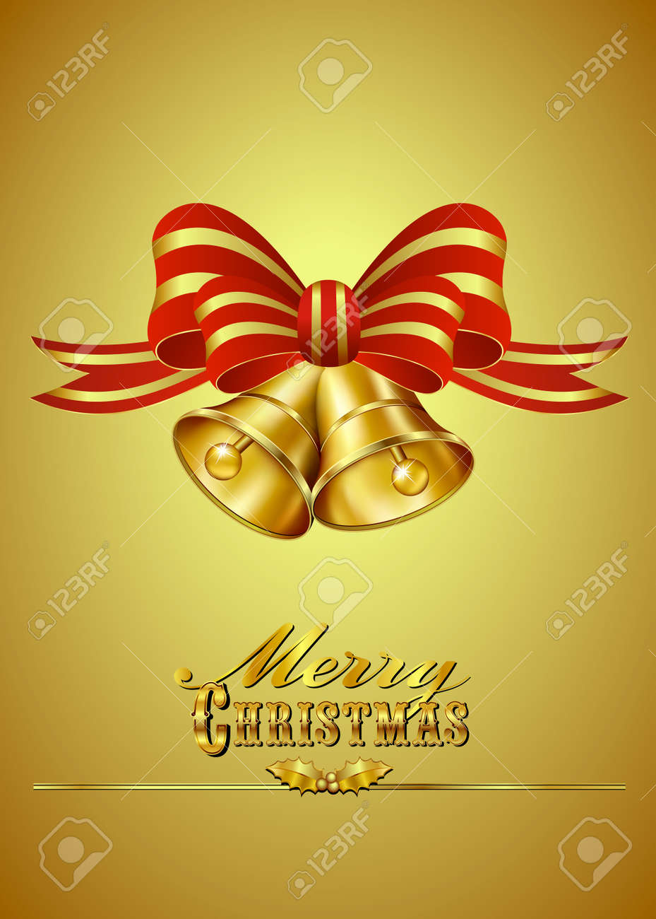 Christmas Card with Bells on Gold background - 22709614