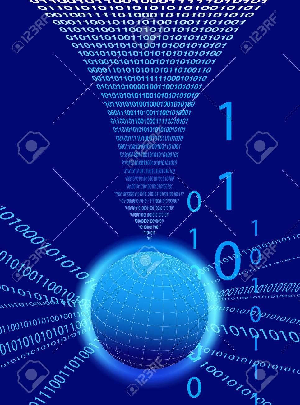Data Background - Binary Code Technology Stream with Globe Stock Vector - 23291840