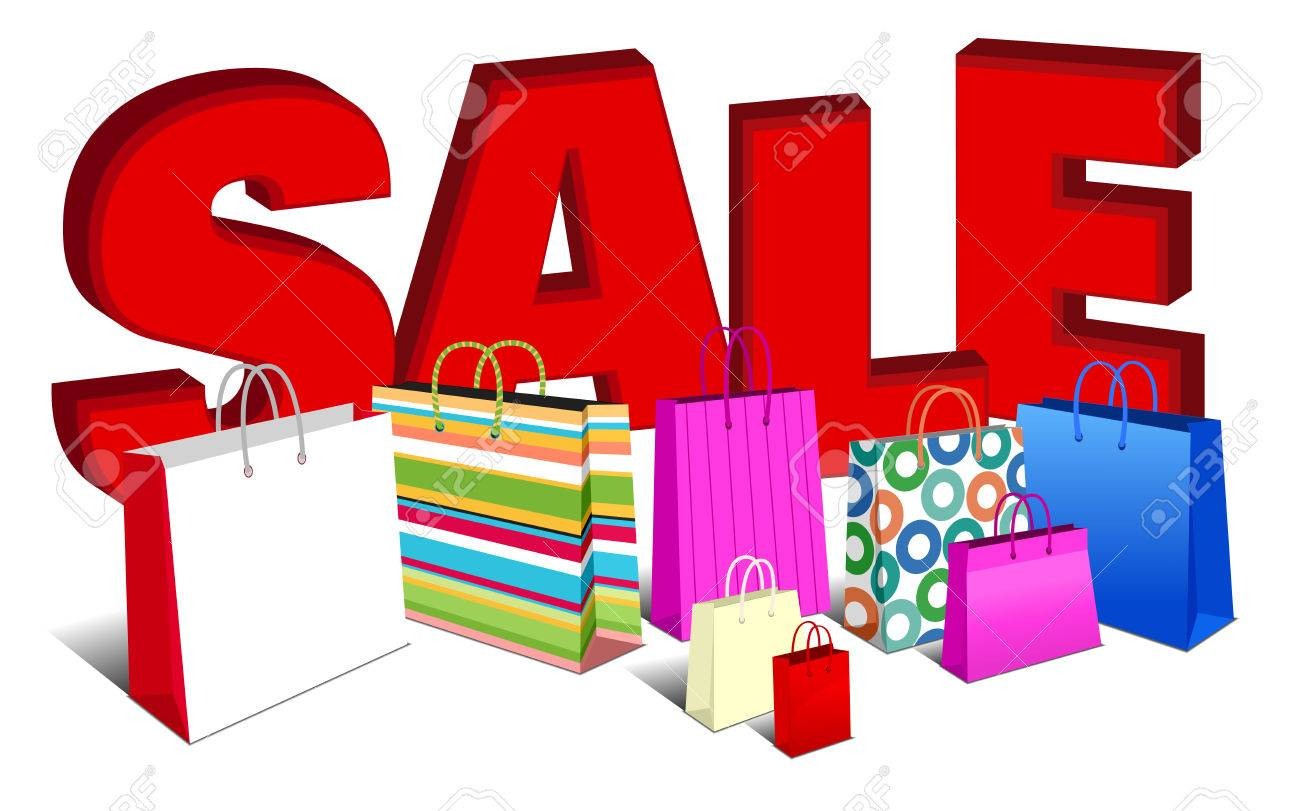 3D SALE Banner Shopping Bags Royalty Free Cliparts, Vectors, And ...