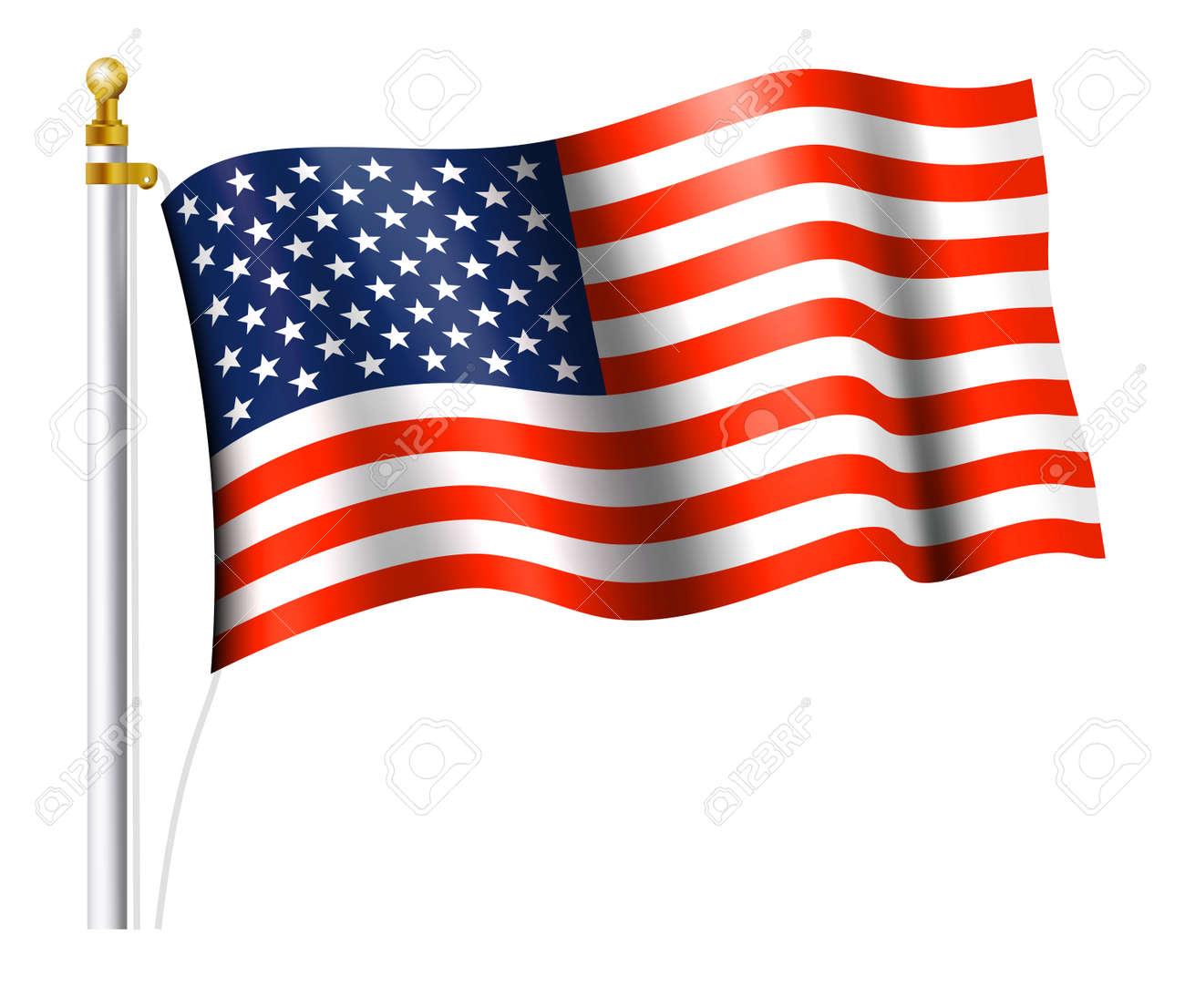 a91a20ba46d American Flag On Flag Pole Royalty Free Cliparts