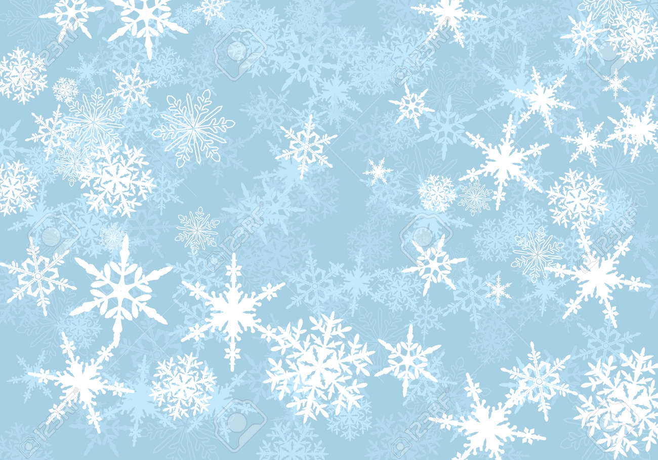 Abstract Powder Blue Snowflakes Background - 32883221