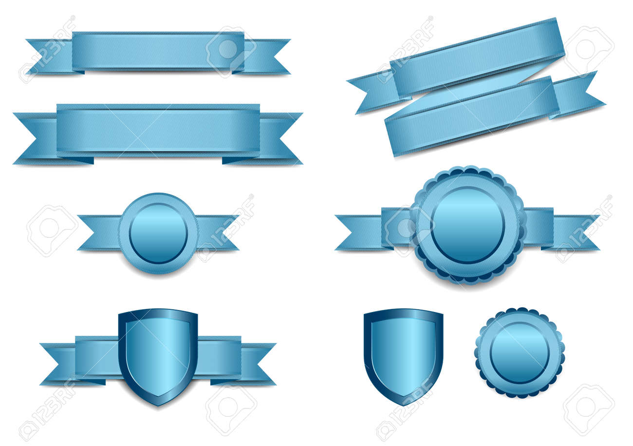 Blue Banners with Shield and Rosette - 36819011
