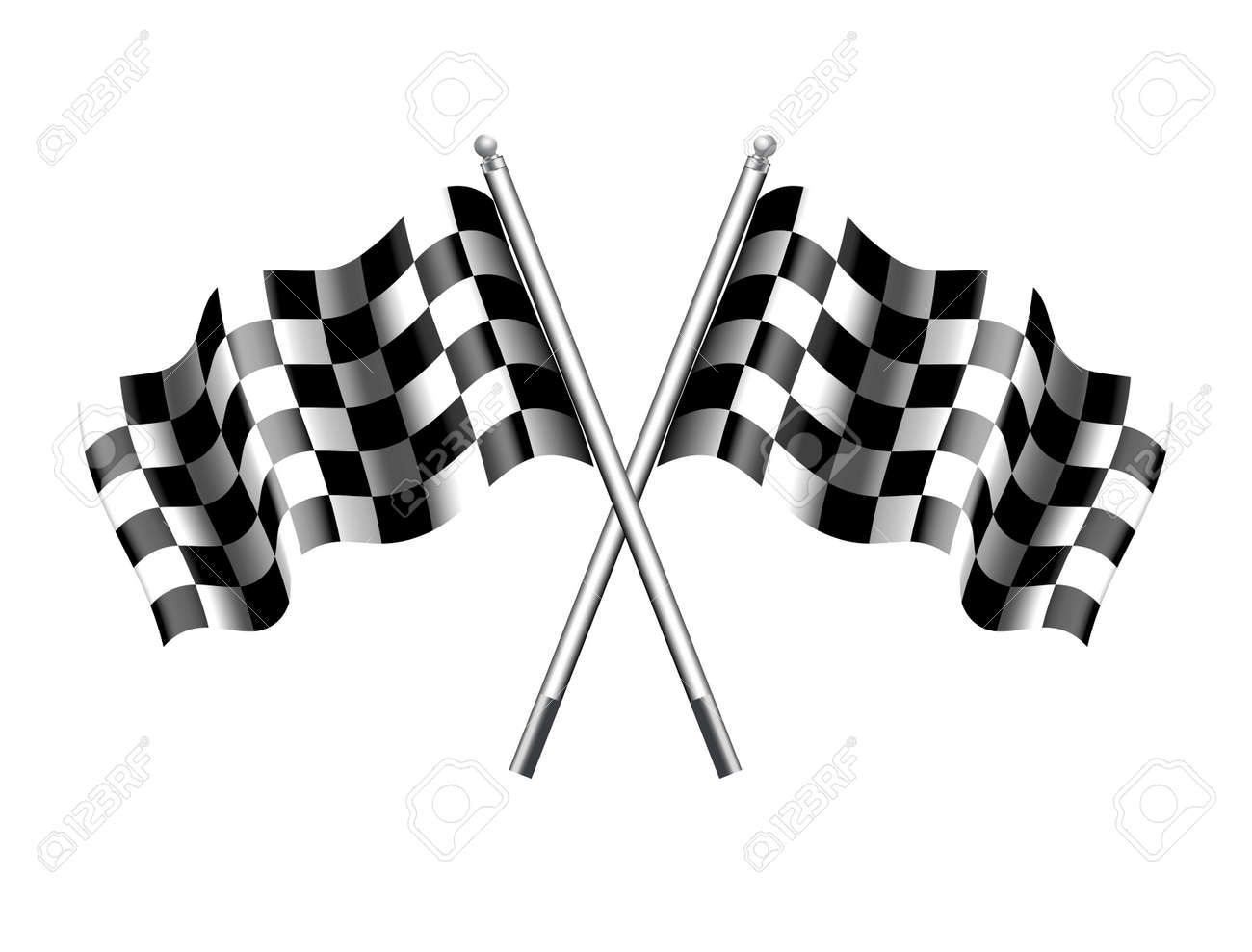 Rippled black and white crossed chequered flag - 40240802