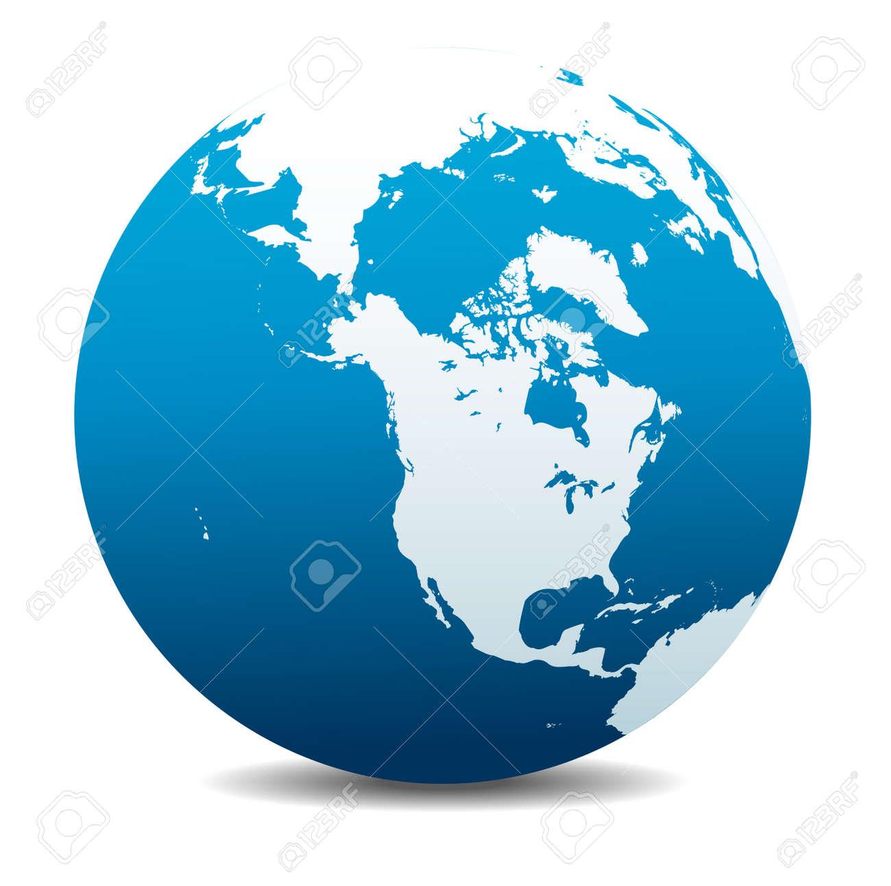 Canada, North America, Siberia And Japan Global World Royalty Free ...