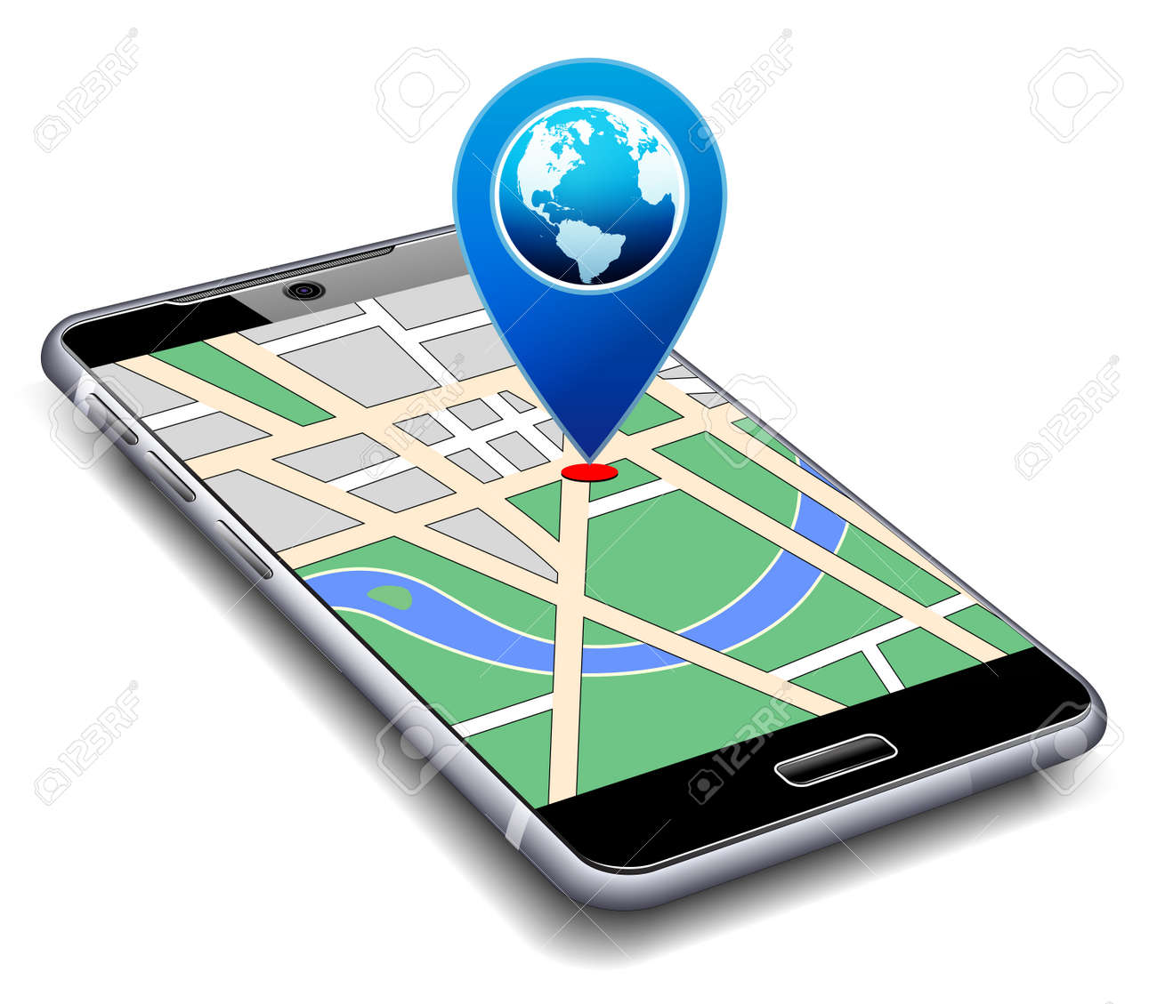 You are Here - Phone with Map Pointer Icon Cell Smart Mobile - 51244016