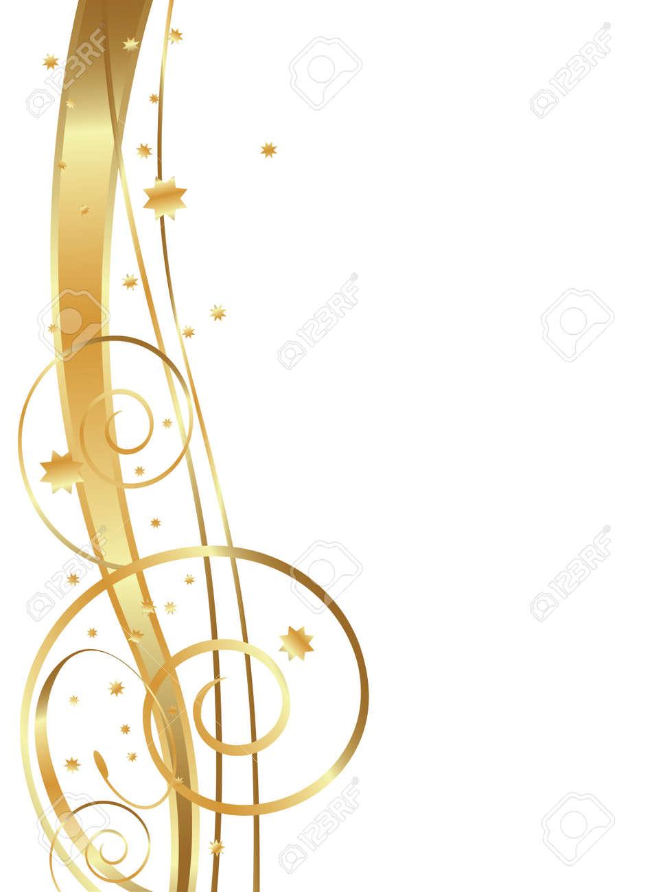 Gold Flowing Background, swirls, twirls and stars - 59696759