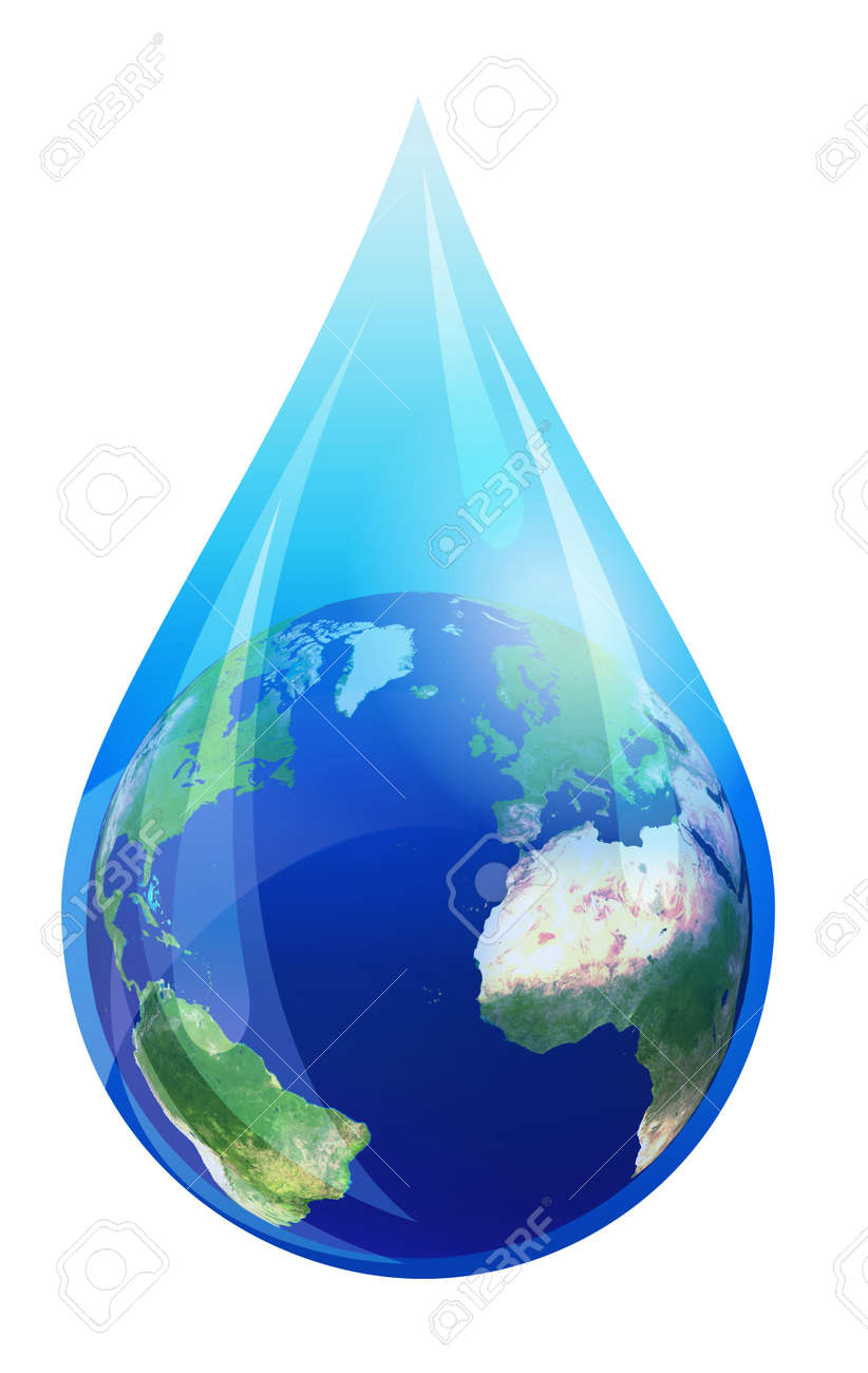 water drop world earth globe in a water droplet elements stock