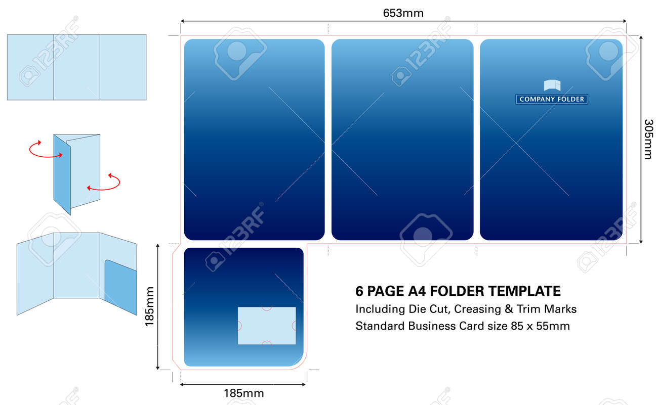 six page a4 folder template with die cut and standard business