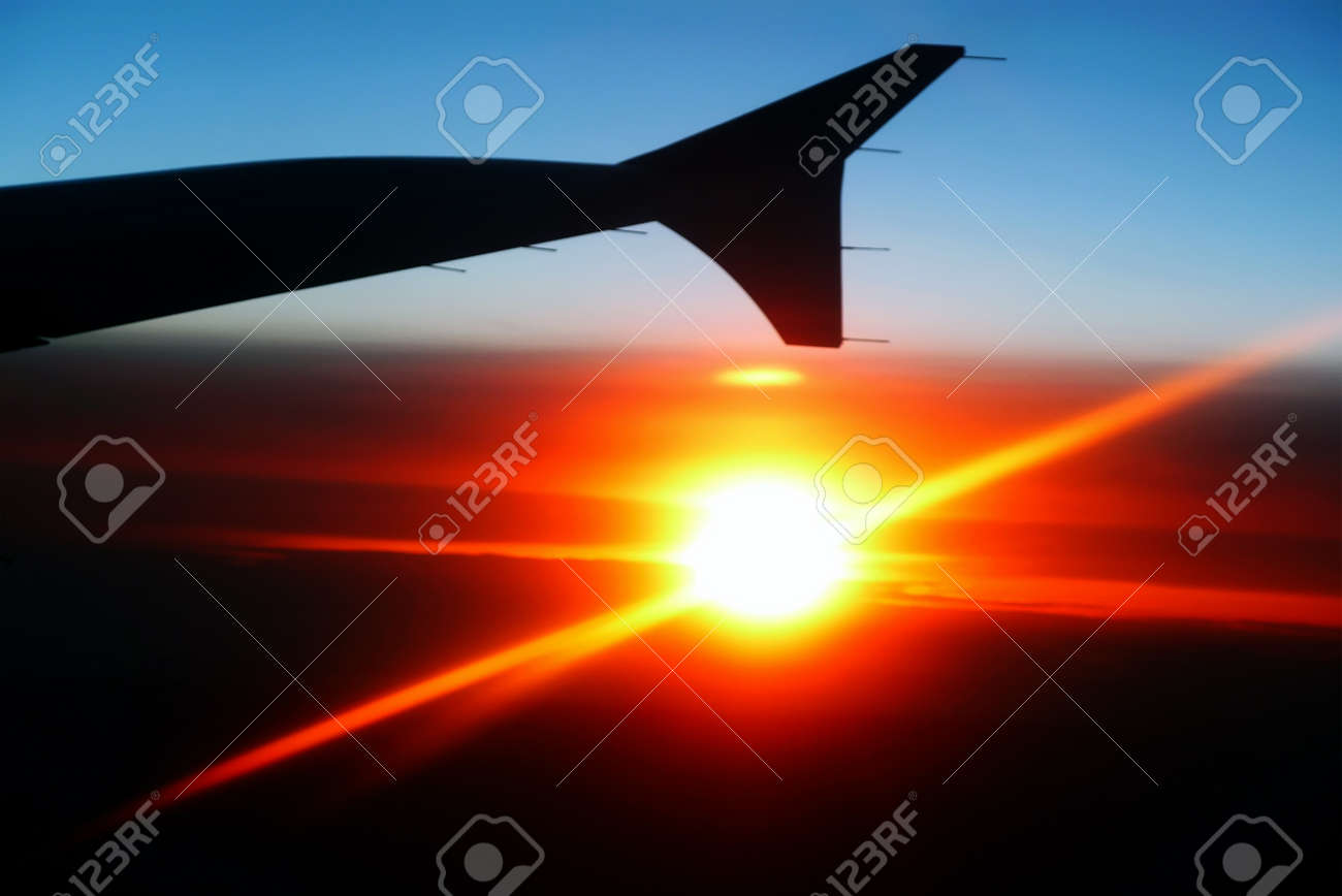 Plane silhouette in a sunset Stock Photo - 11803716
