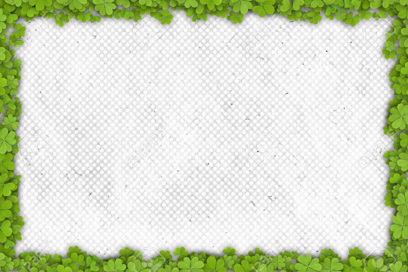 shamrock border on paper with place for your text stock photo