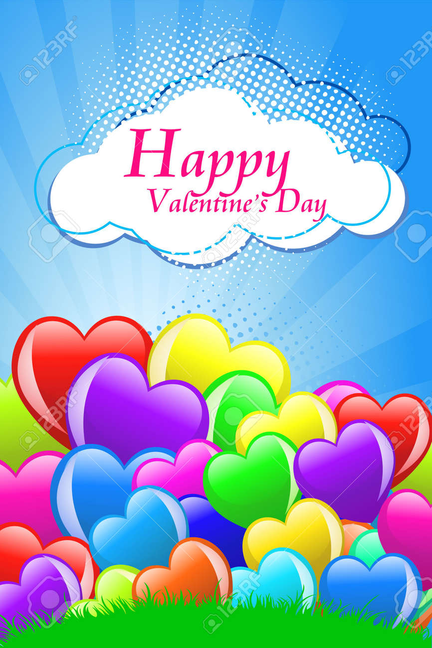 Cartoon hearts with wings on blue background Stock Photo - 6500008