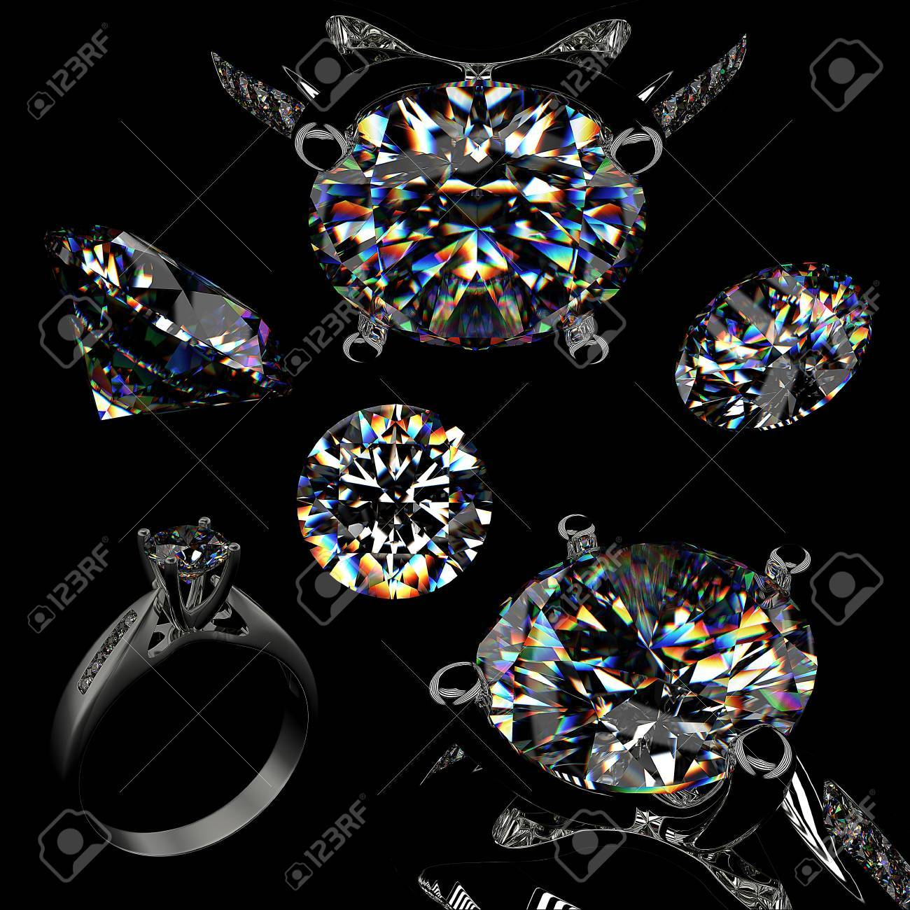 Ring with diamond isolated on black background Stock Photo - 9610708