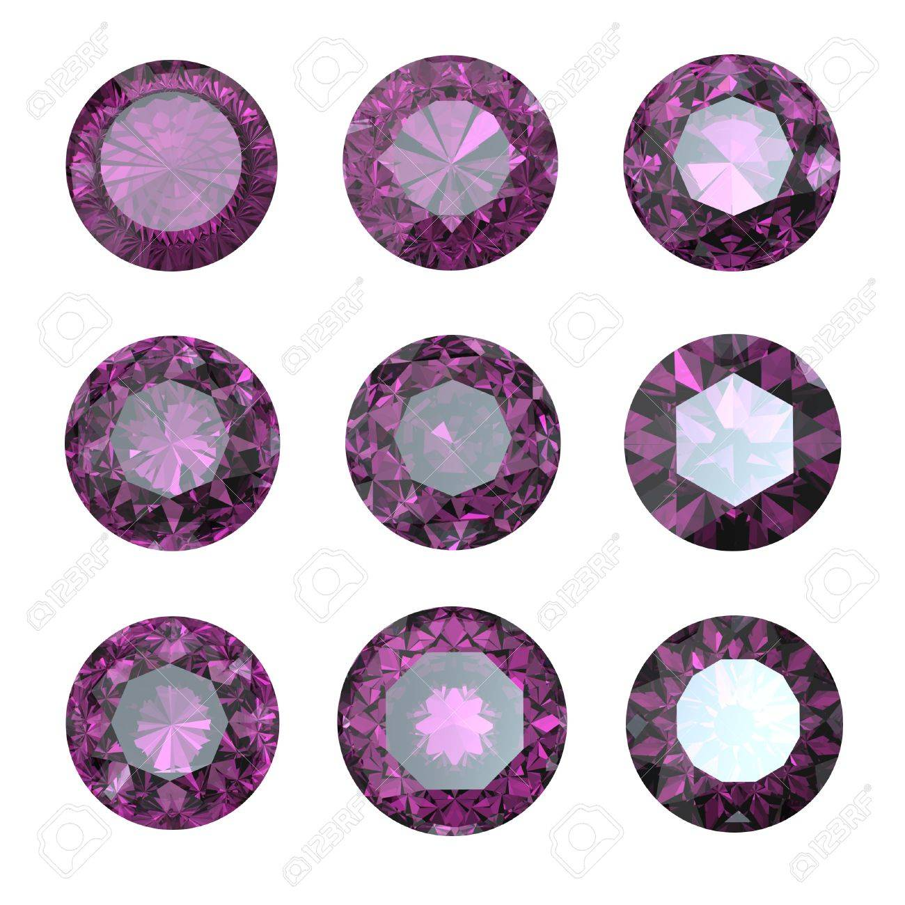 Set of round amethyst isolated. Gemstonecut diamond perspective on black background Stock Photo - 12009825