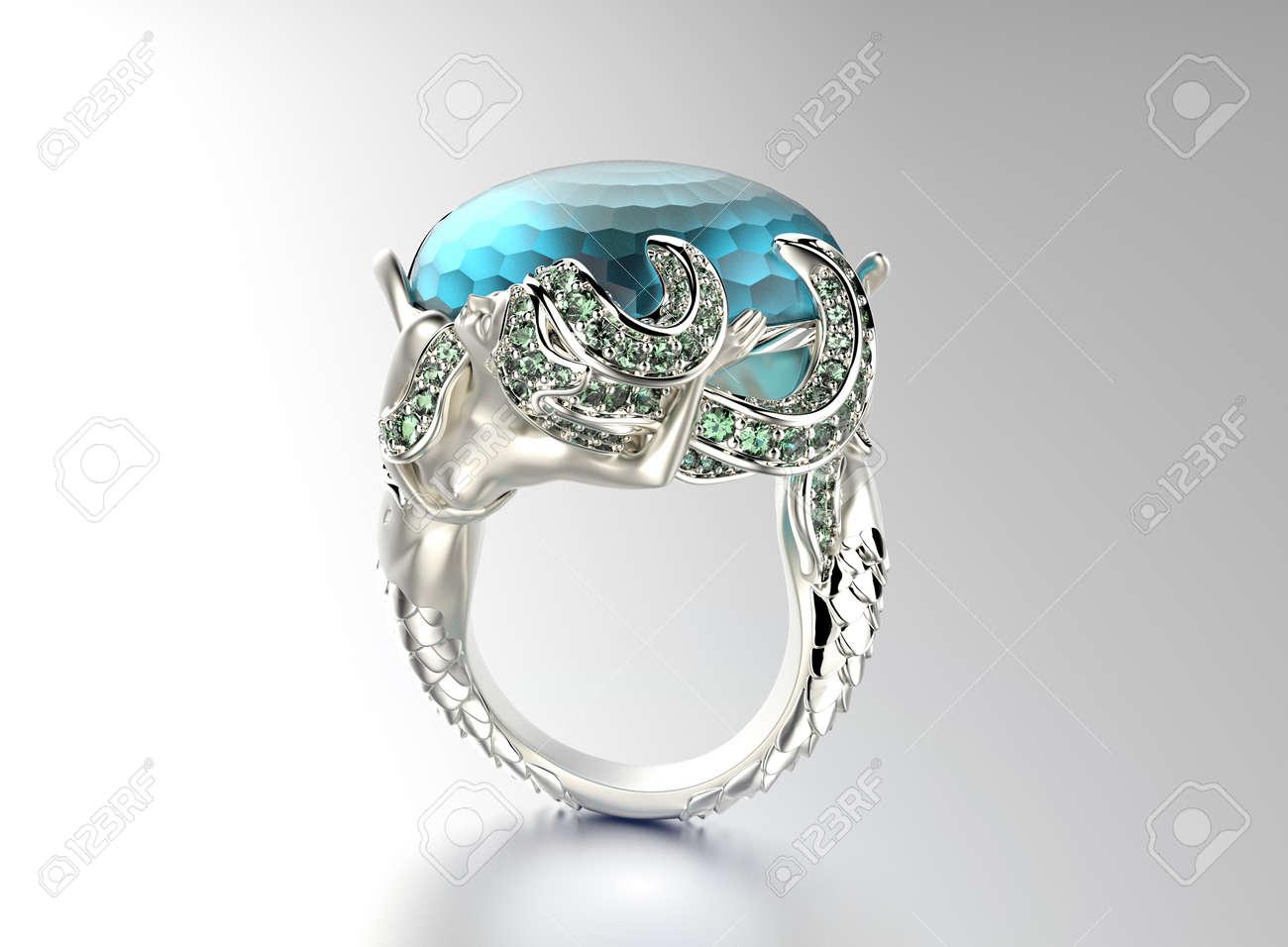 Schmuck diamanten  Golden Ring Mit Diamanten. Schmuck Hintergrund. Aquamarin ...