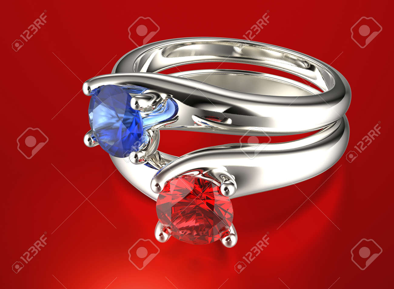 Golden Ring With Diamond Jewelry Background Valentine Day Stock