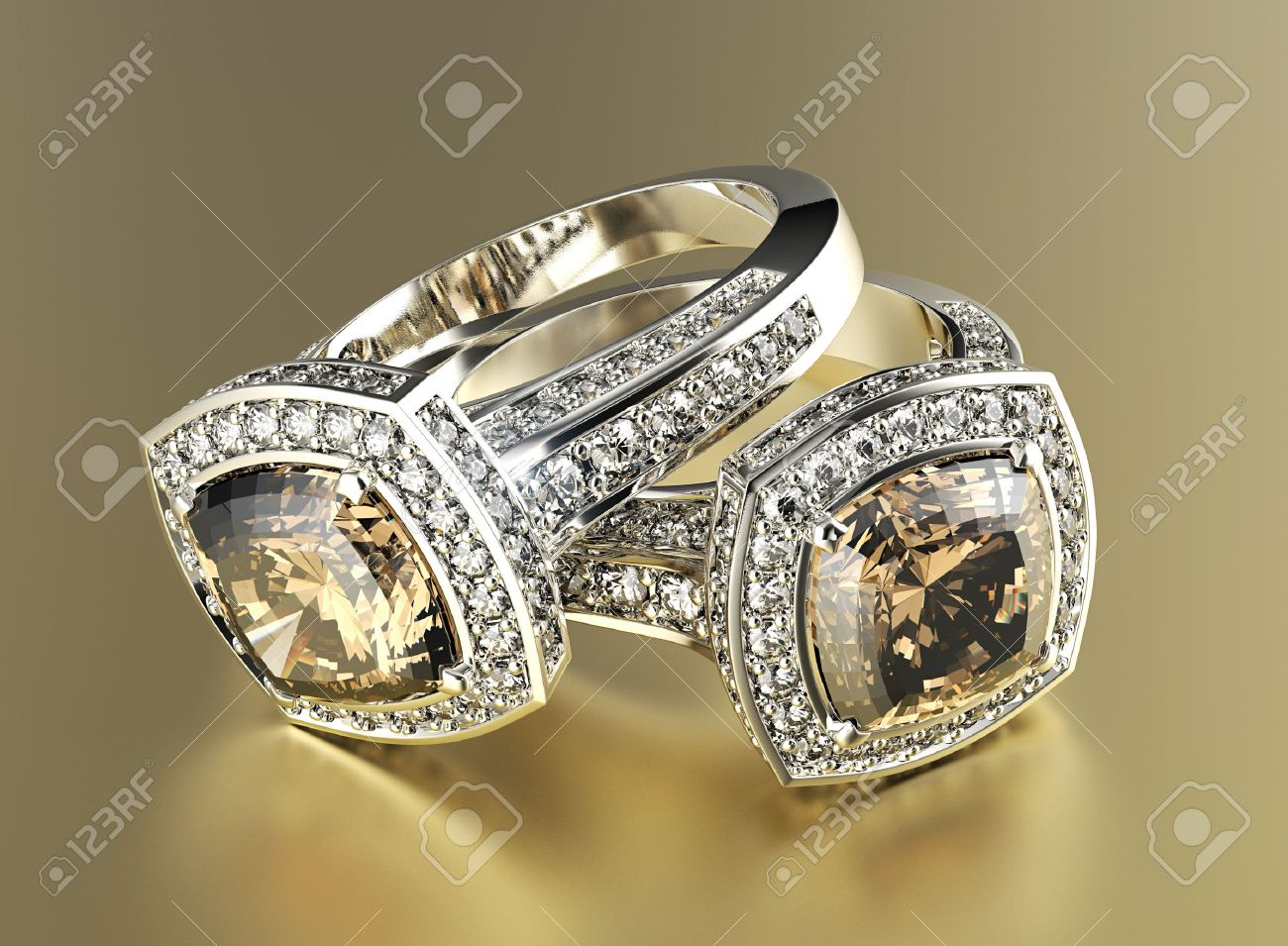 Golden Engagement Ring With Cognac Diamond Jewelry Background Stock Photo   38481548
