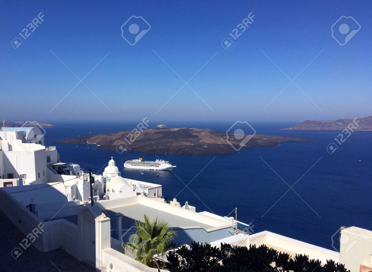 Typical Houses Of Oia In Santorini Volcanic Island Of The Aegean