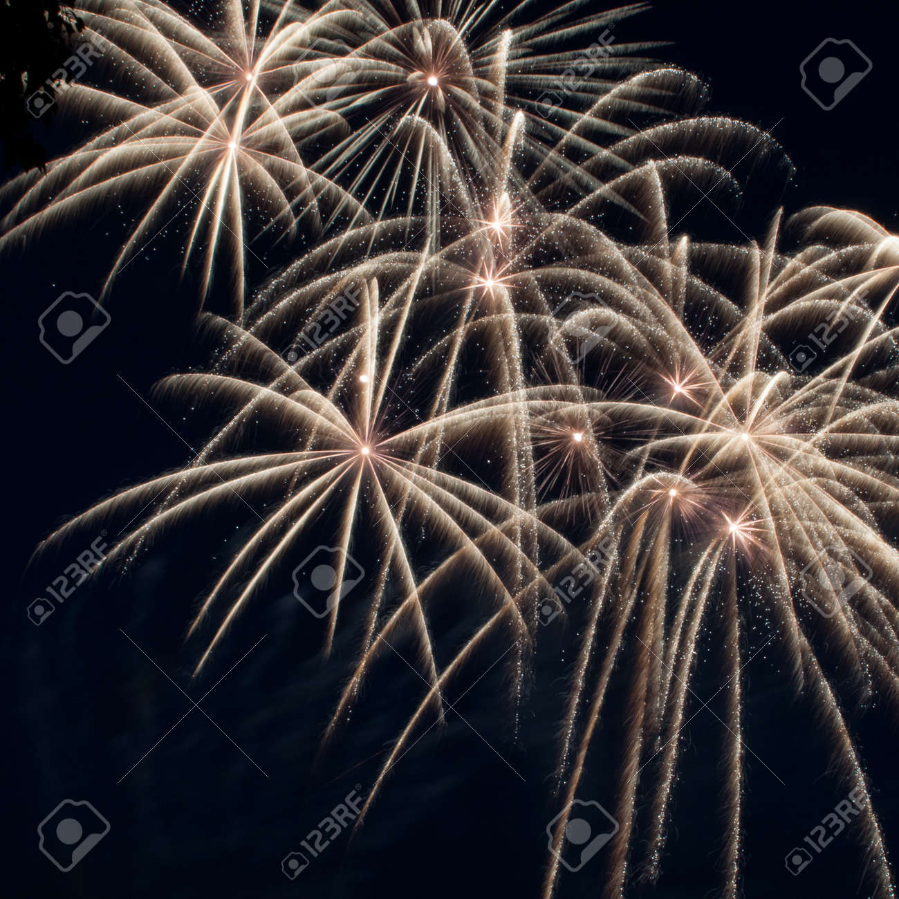 Colorful fireworks over dark sky, displayed during a celebration Stock Photo - 13805422