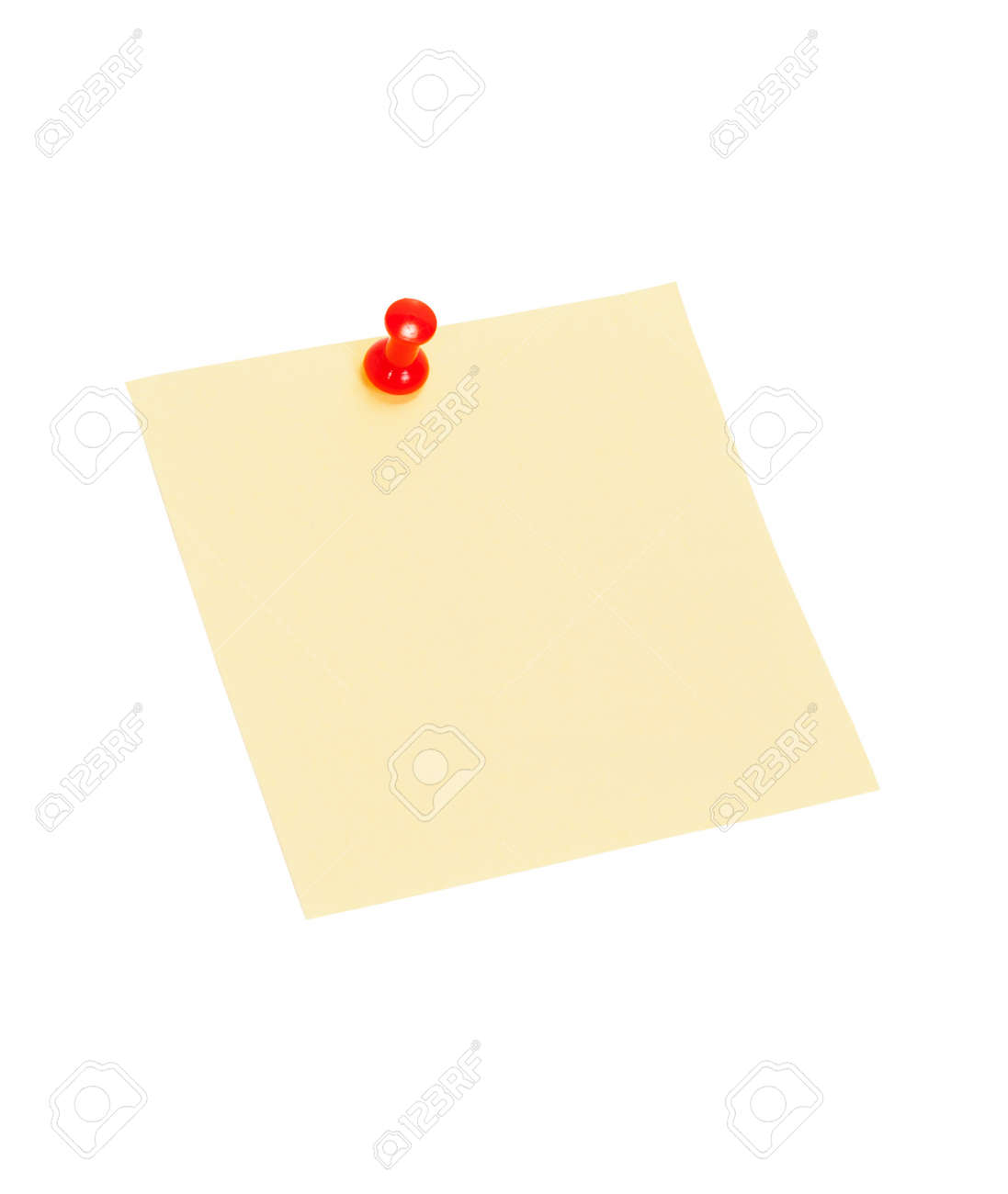 Feuille jaune pour les notes bouton épinglé isolé sur fond blanc