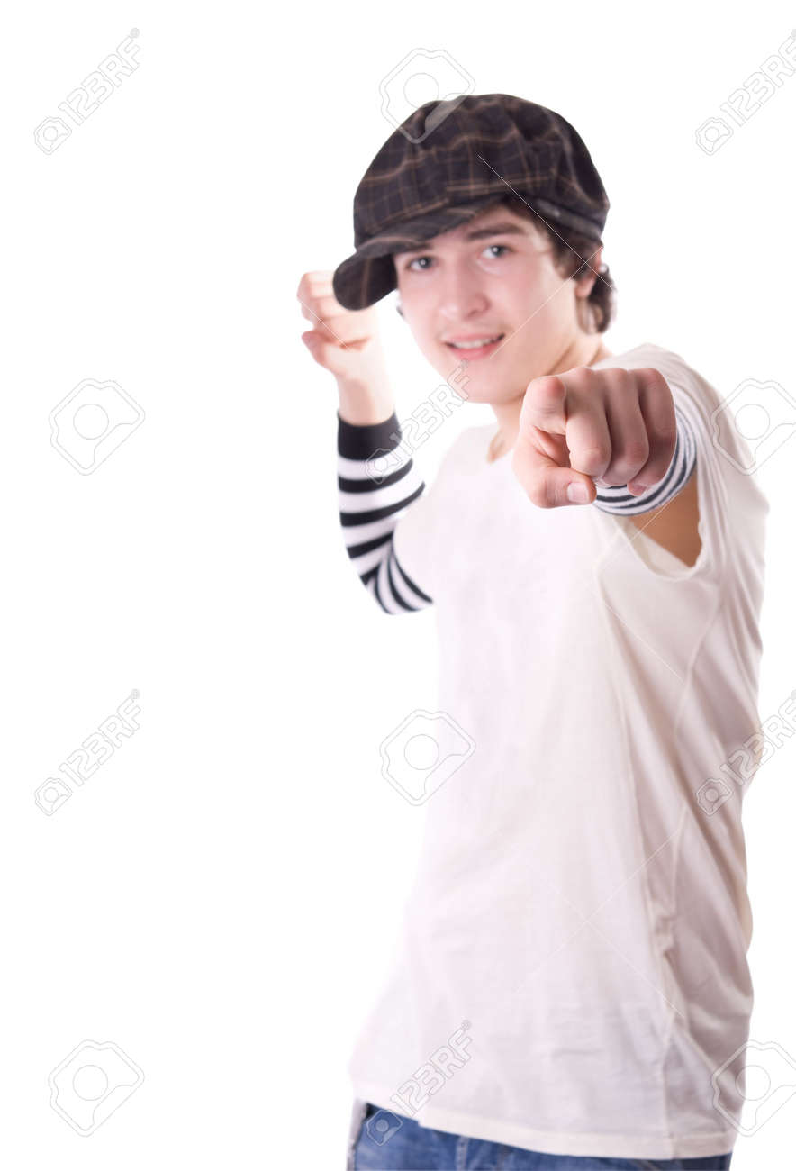 Teen pointing directly at you. Shallow dof Stock Photo - 4893453