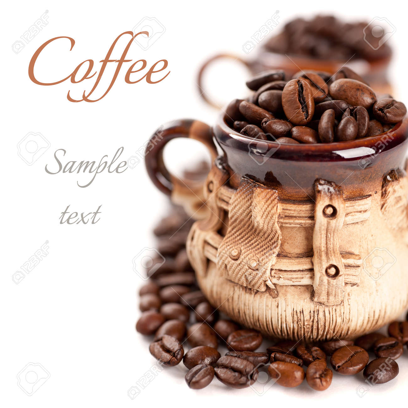 Coffee beans in a cup with the sample text - 22738324