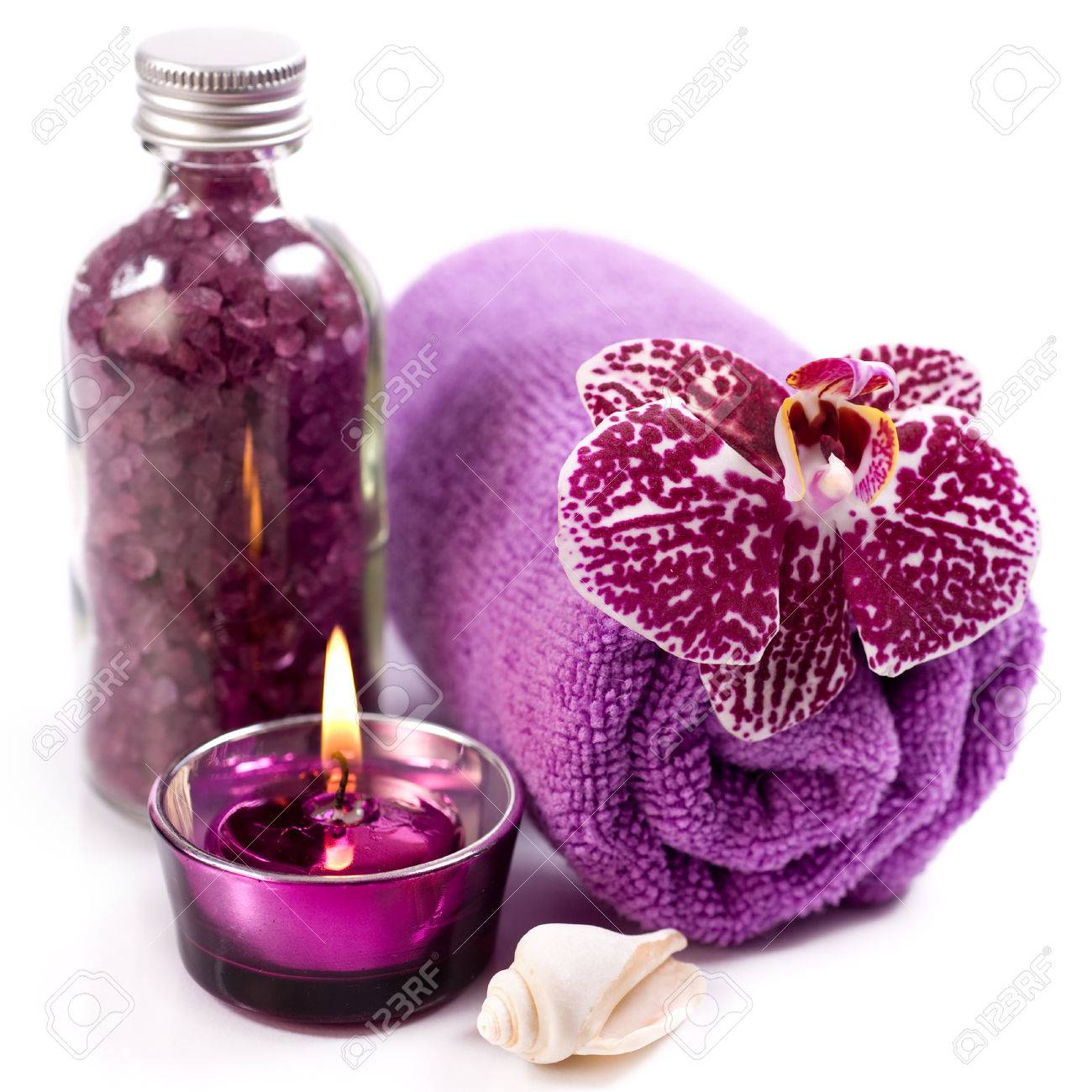Spa concept ( Orchid, sea salt, candle and towel) - 22738340