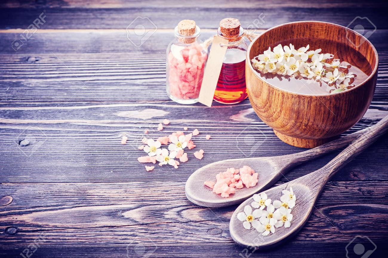 Spa. Aromatherapy essential oils, flowers, sea salt. Spa set - 36298518
