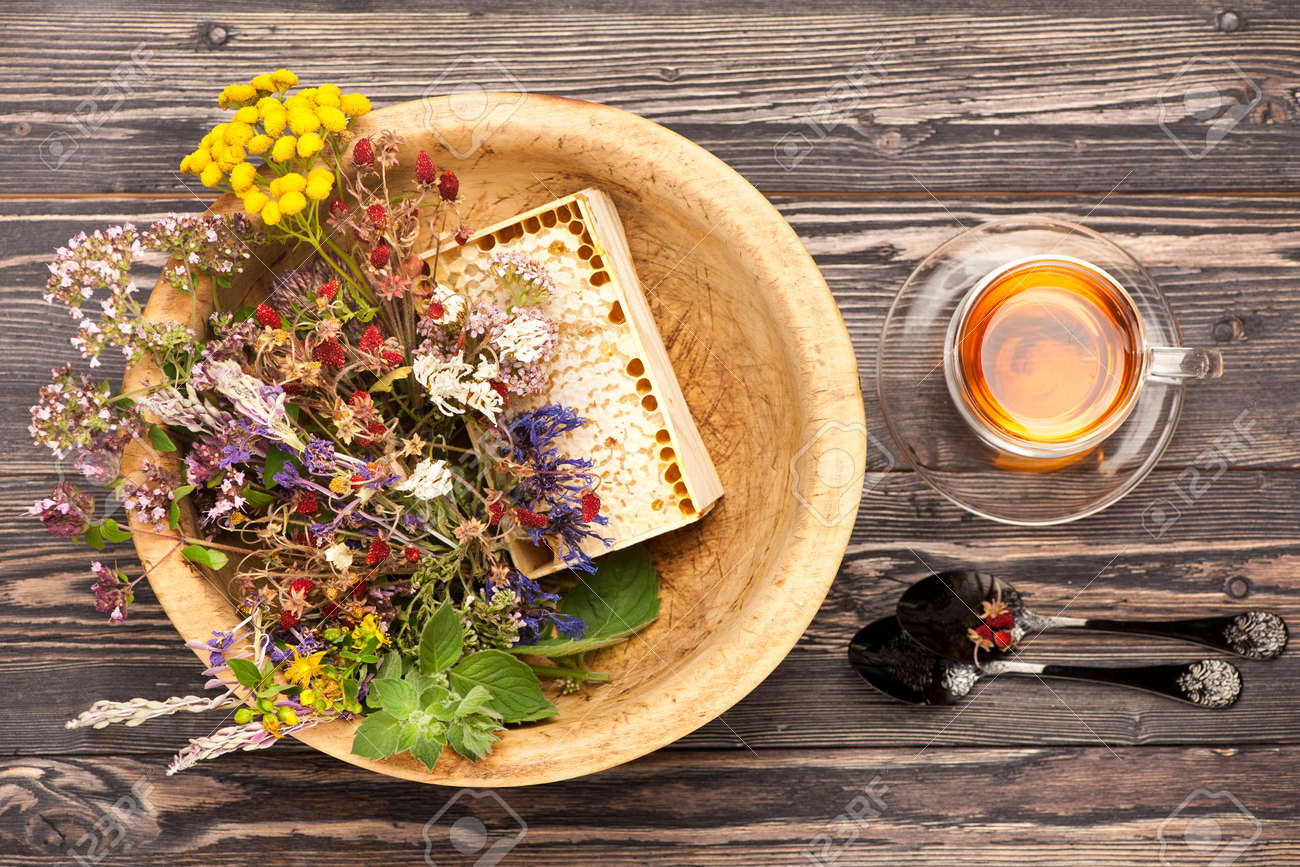 Medical herbs and flowers and herbal tea. top view, horizontal - 44189926
