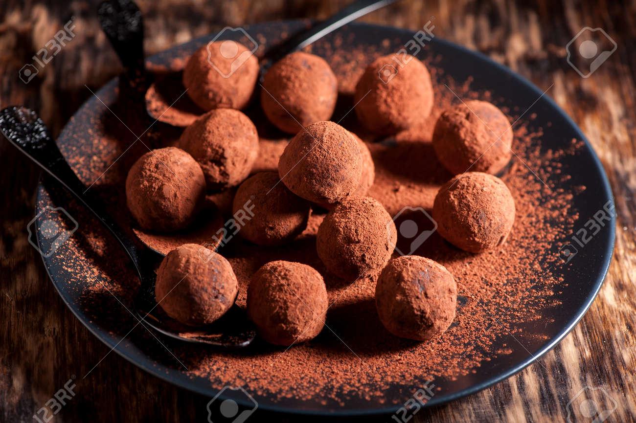 Chocolate truffles handmade close-up, horizontal - 44719461