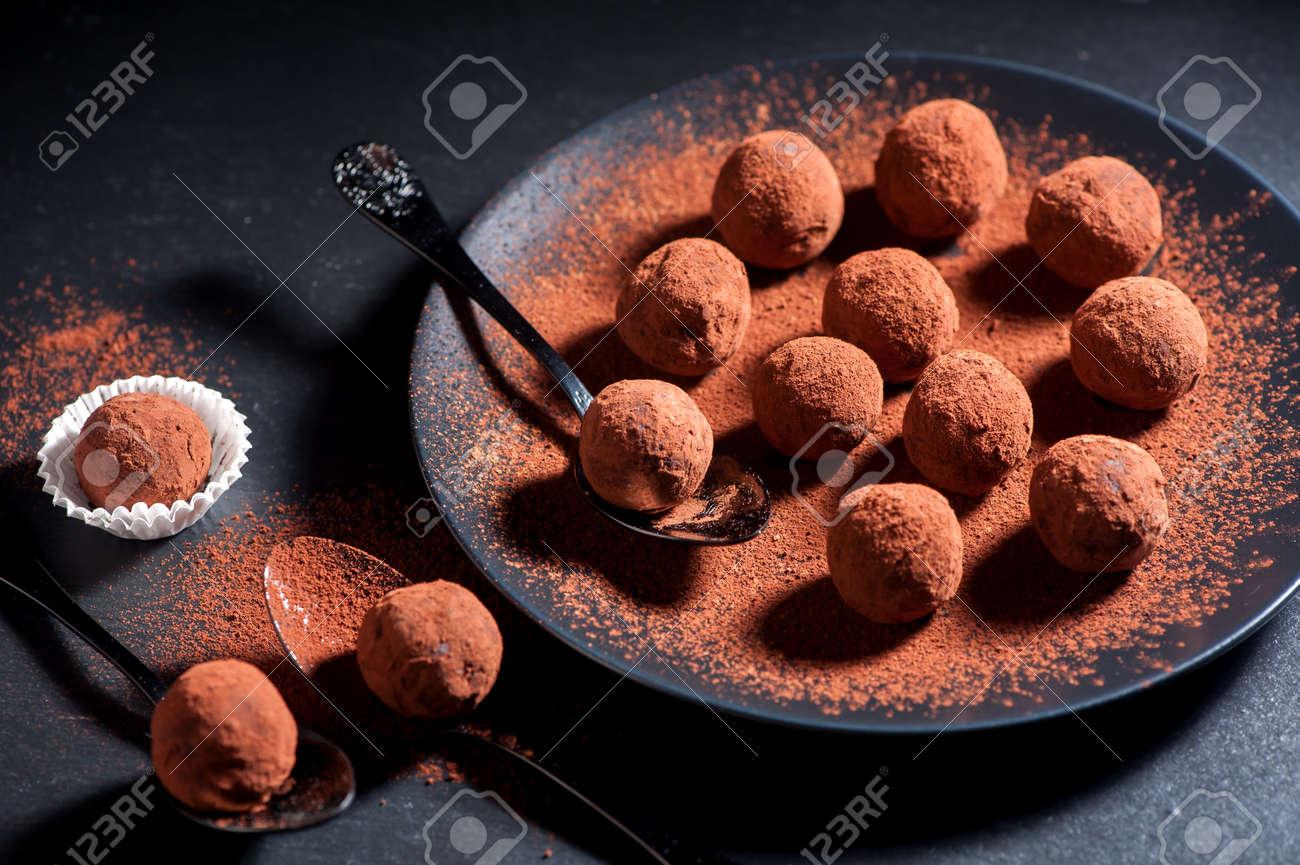 Chocolate truffles handmade - 44719601