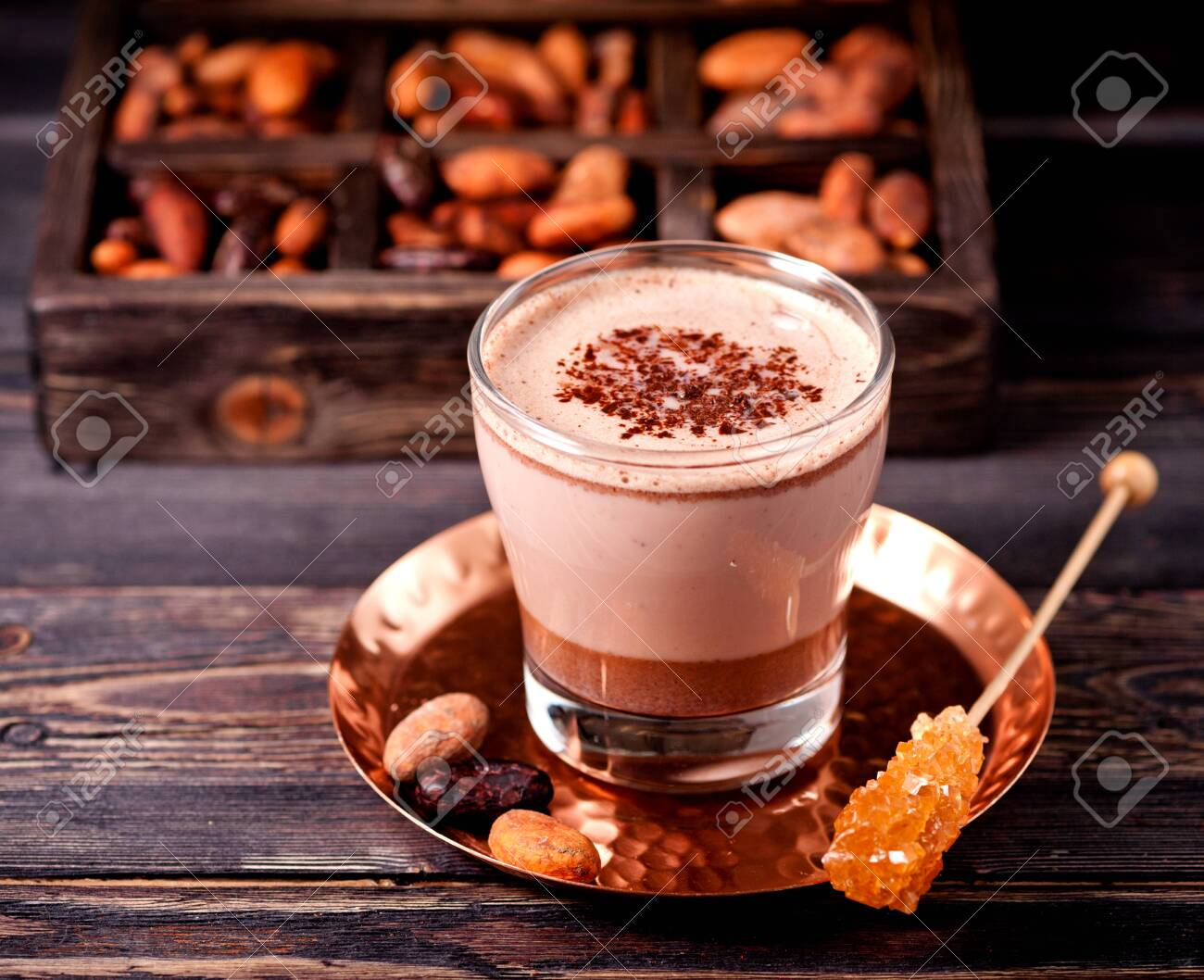 Hot chocolate or hot cocoa and cocoa beans - 149496928