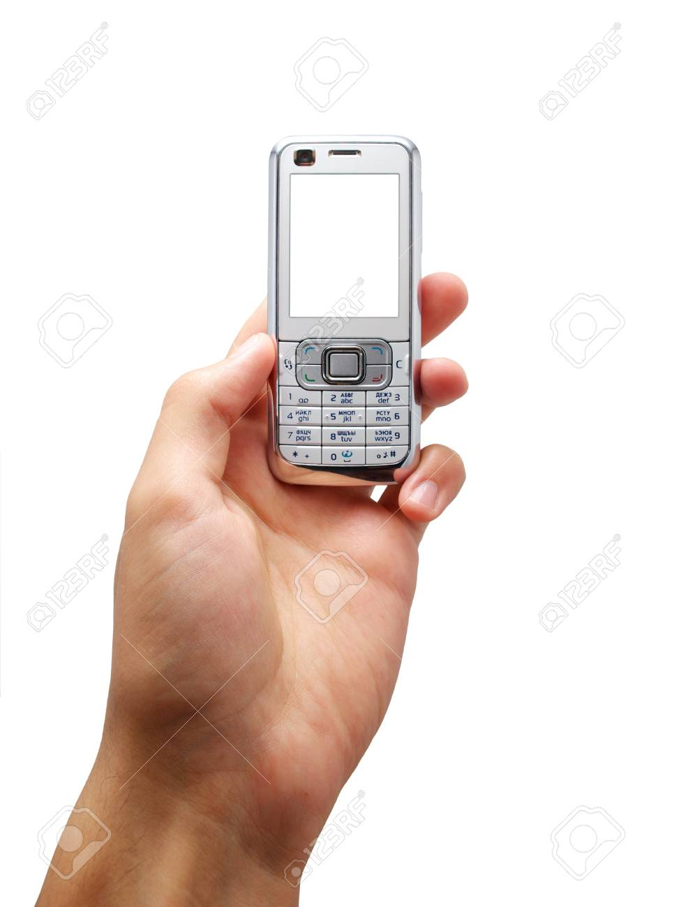 Mobile in hand. Element of design. Stock Photo - 7990814