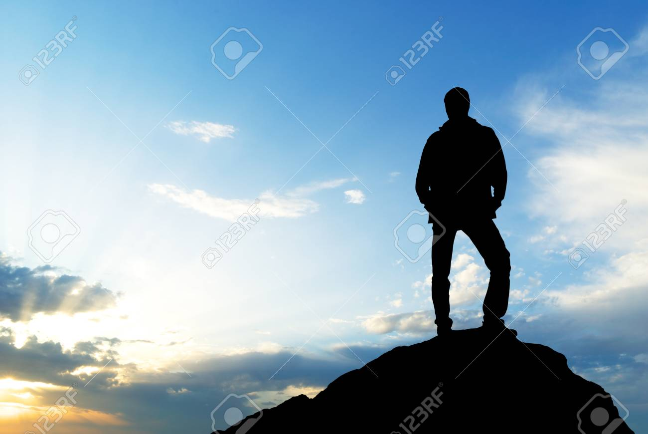 Silhouette of man on sunset. Element of design. Stock Photo - 8931907