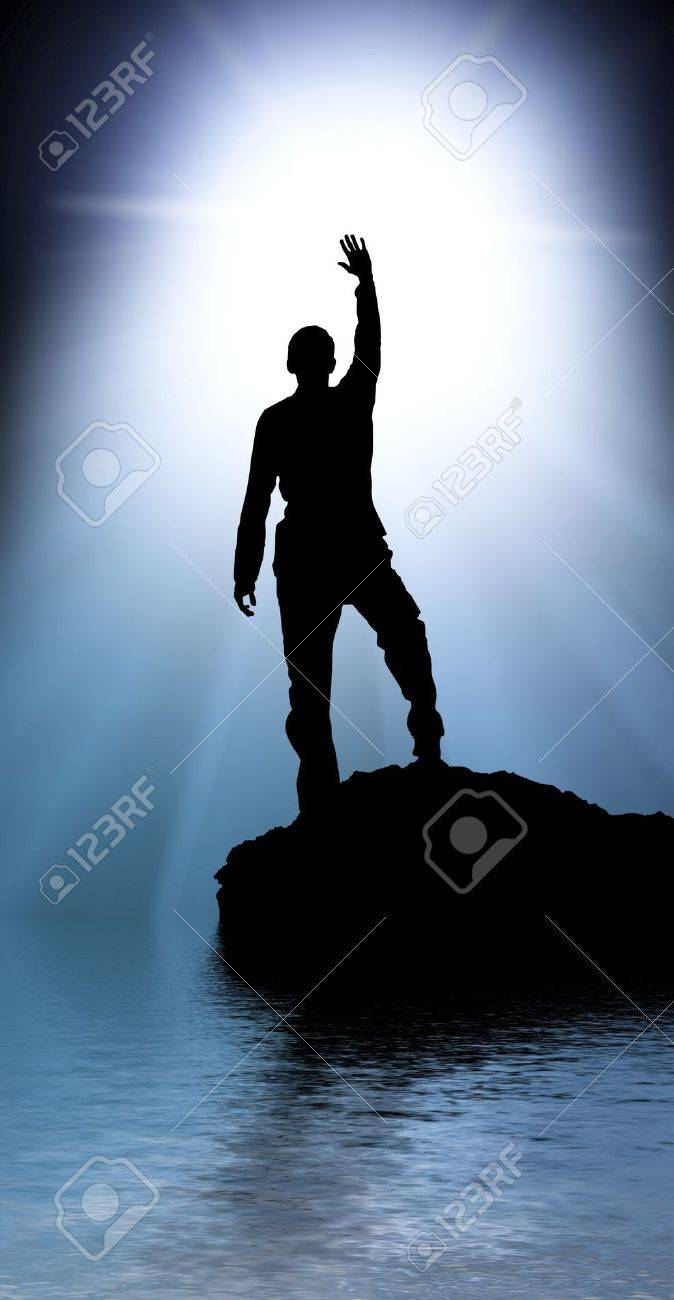 Silhouette of man touch the sun. Stock Photo - 10122156