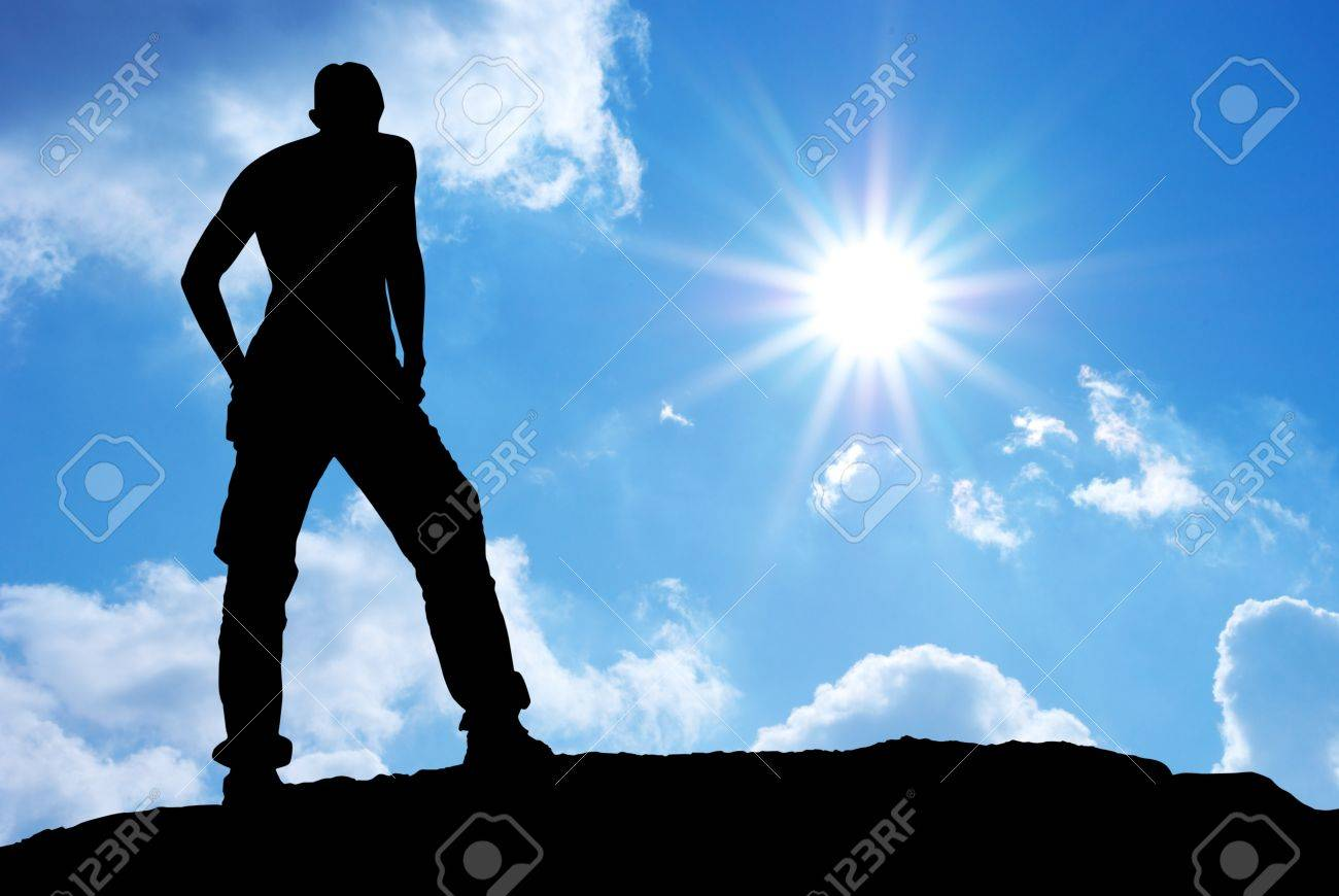 Silhouette of man in mountain. Conceptual scene. Stock Photo - 10122139