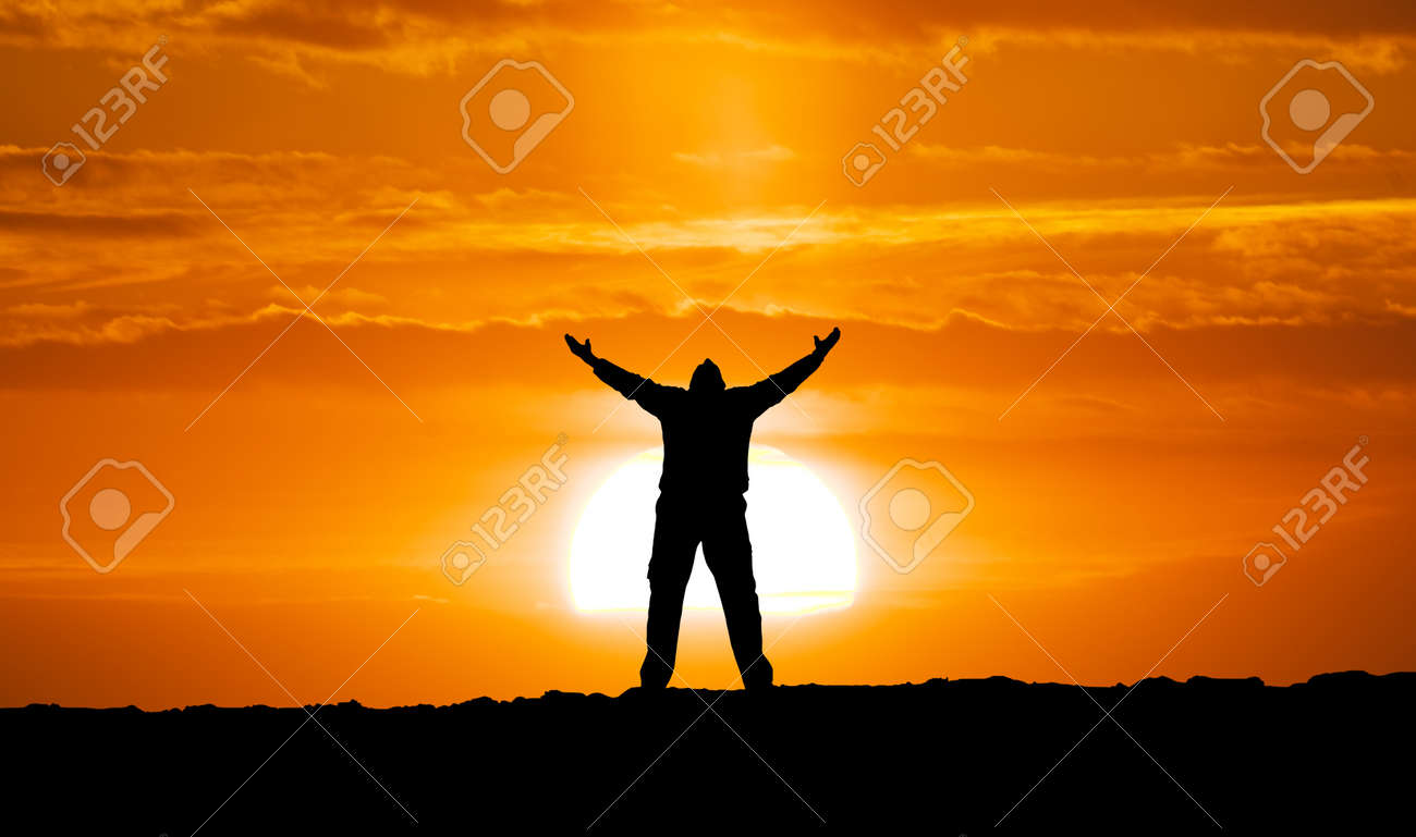 Silhouette of man and big sun. Conceptual scene. Stock Photo - 17632248