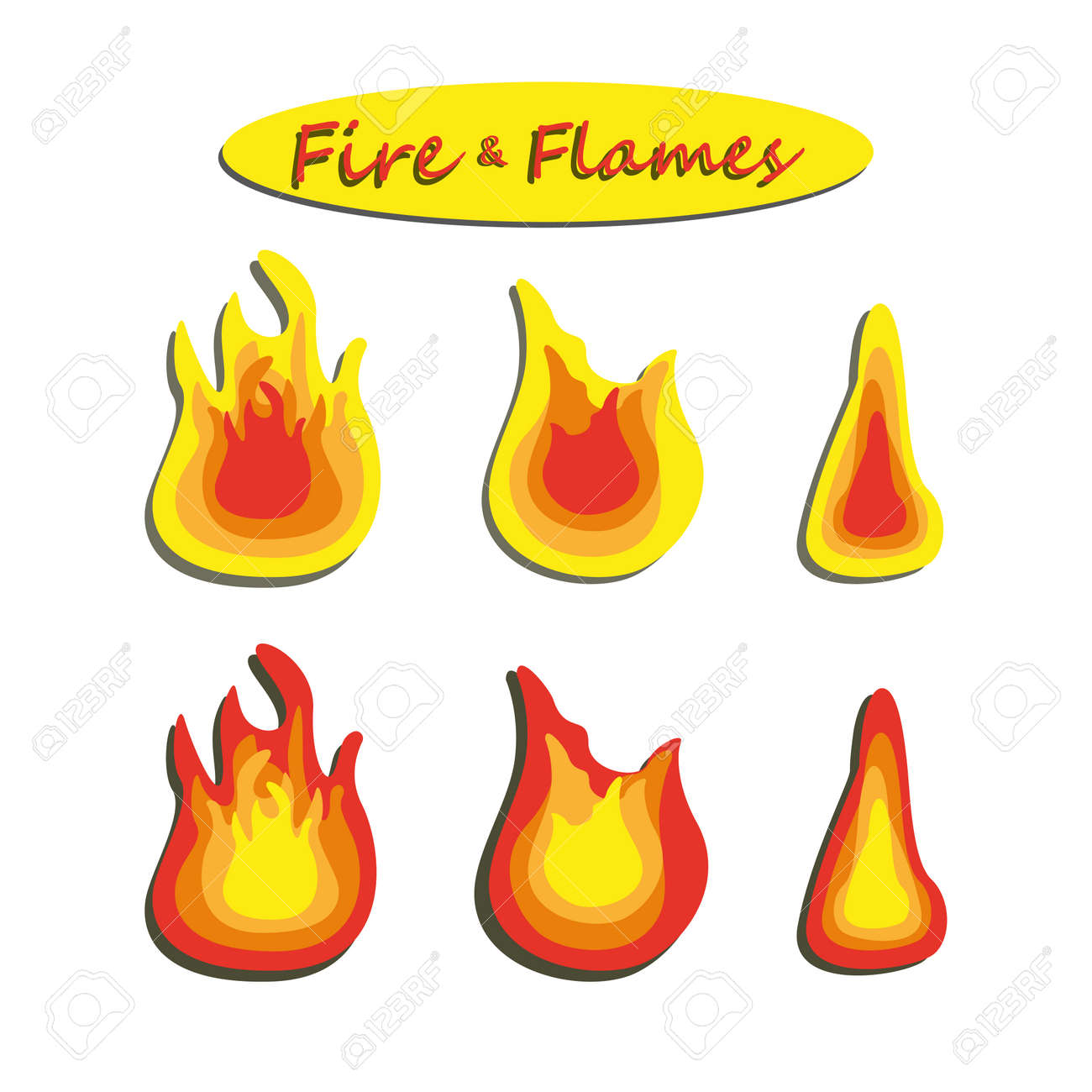 Flames icon over white background vector illustration. Set of fire flame icons isolated on white background. Energy concept. - 168496661