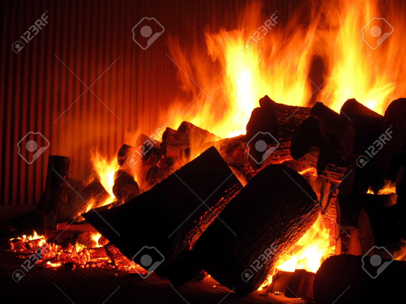fire on the grill grate boiler during the initial phase of drying refractory and chemical Stock Photo - 16662359