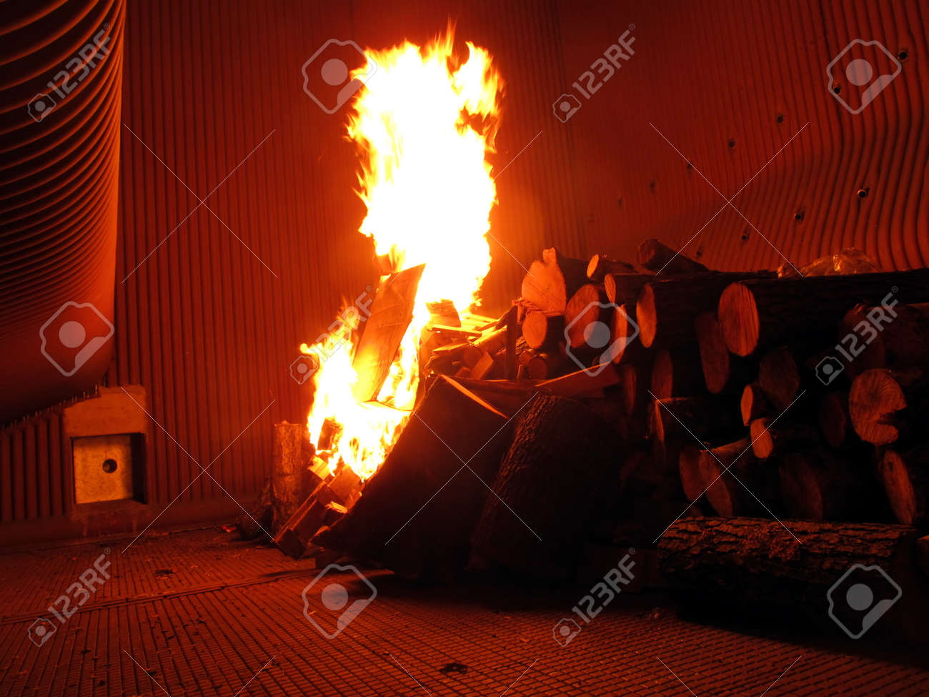 fire on the grill grate boiler during the initial phase of drying refractory and chemical Stock Photo - 16662381