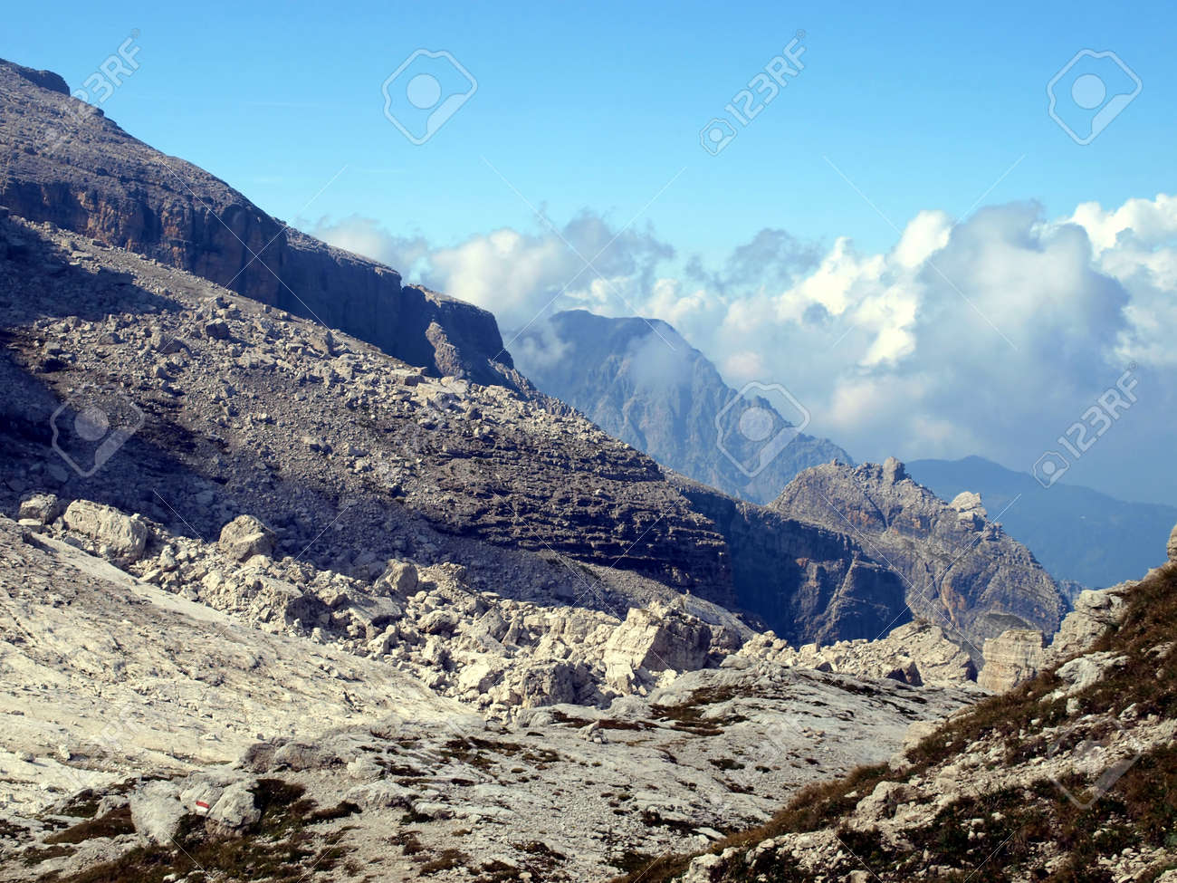 Brenta Dolomites mountain views in the area of   Alfredo Sentiero path and pass Groste, Italy Stock Photo - 22974910