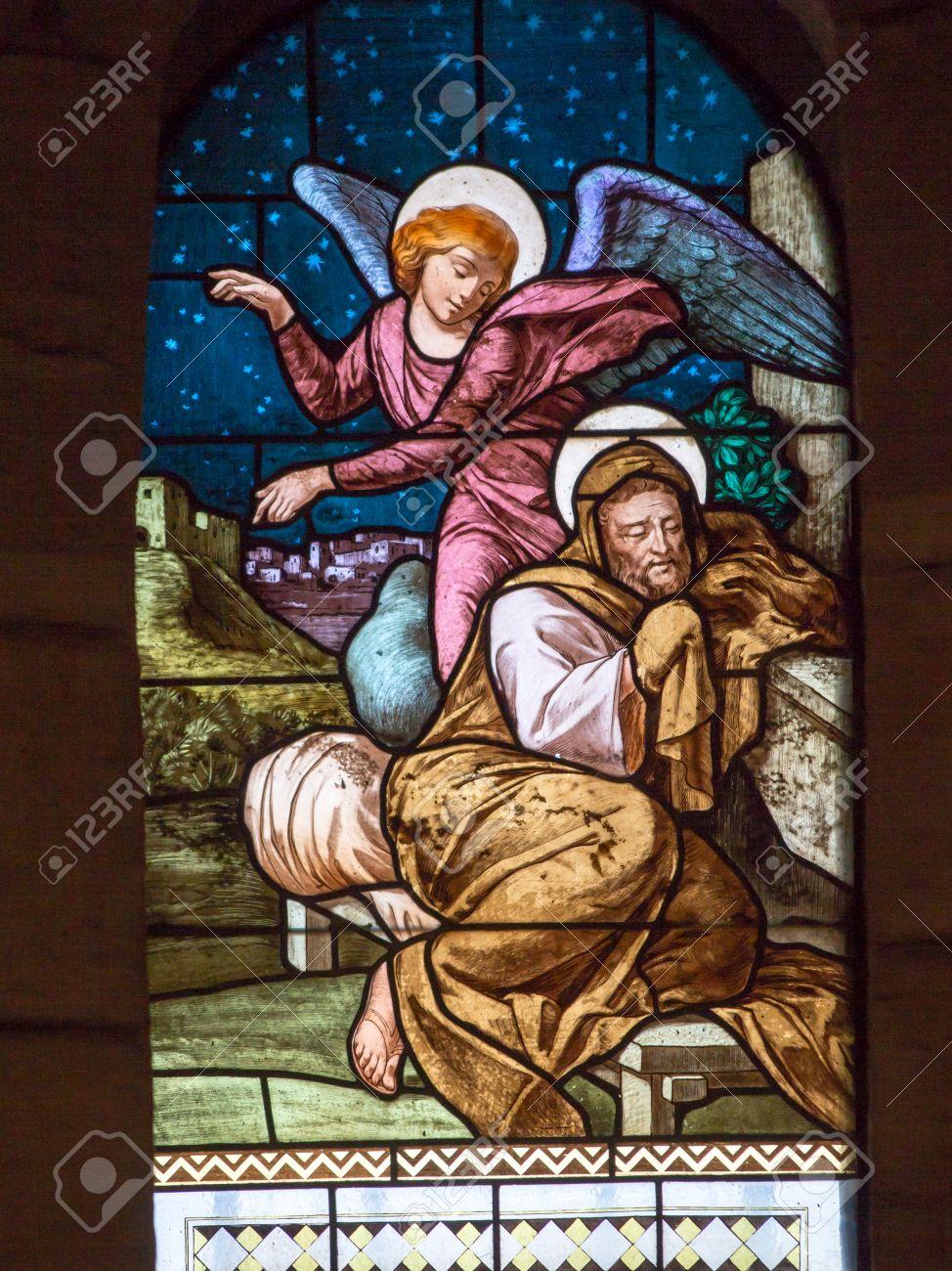 Glas In Lood Engels.St Engel Praat Joseph Glas In Lood Raam Van De Kerk Van St Jozef