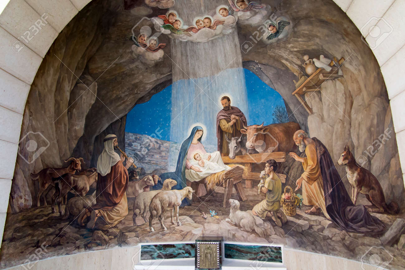 Bethlehem, Israel - January 28, 2020: Interior of Chapel of the Shepherd's Field is a Roman Catholic religious building in West Bank. The chapel marks the place where angels announced the birth of Christ - 158013170