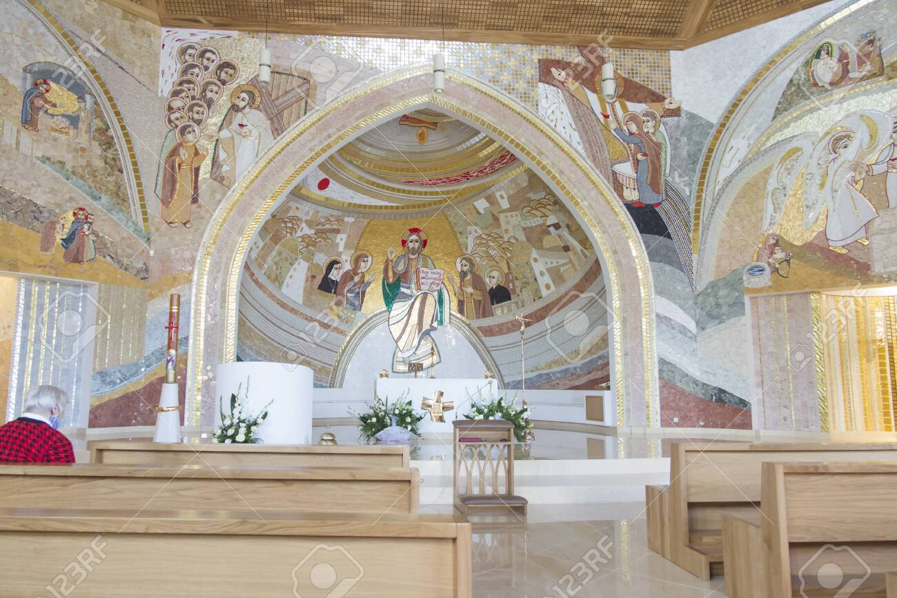 CzÄ™stochowa, Poland, June 23, 2020: Mosaic at the Shrine of Divine Mercy in the Valley of Divine Mercy at the Pallottine priests - 158013167