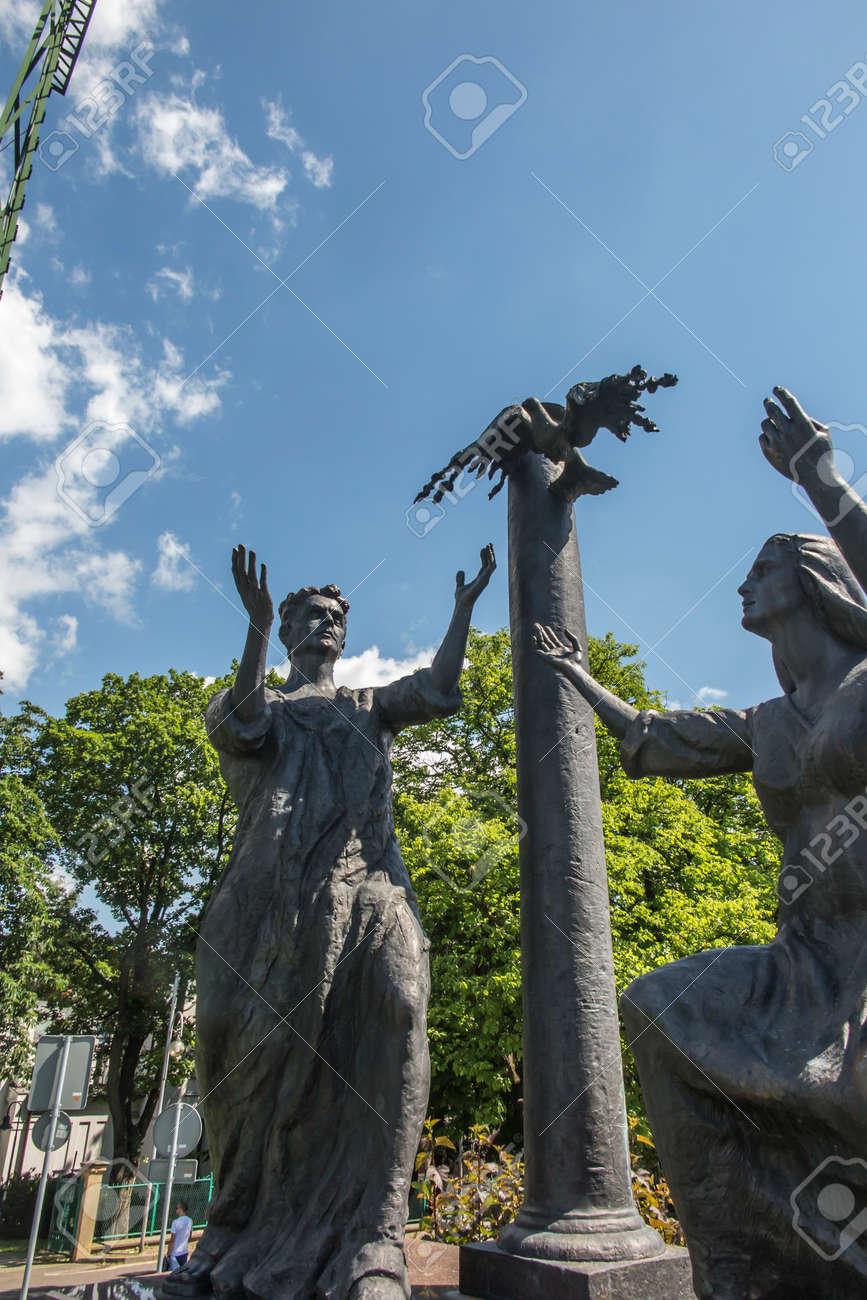 "Czestochowa, Poland, June 23, 2020: The mystery of the Holy Rosary around Jasna Gora. Glorious secrets, ""Way of the Cross"". Design and performance artist from Zakopane Tomasz Ross. - 158013164"