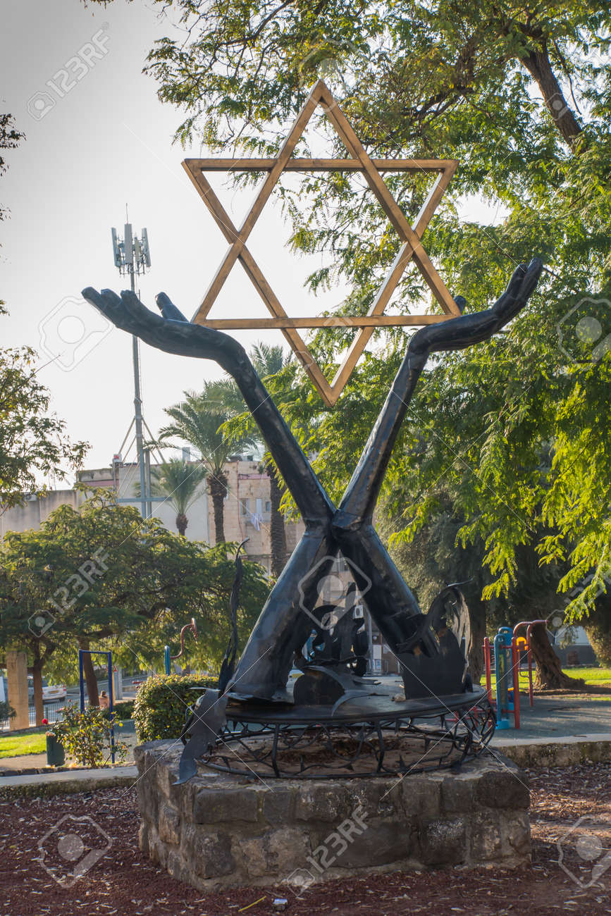 Tiberias, Israel, January 26, 2020: Monument with the Star of David in the square in the city of Tiberias on the Sea of Galilee, Israel, - 158013166