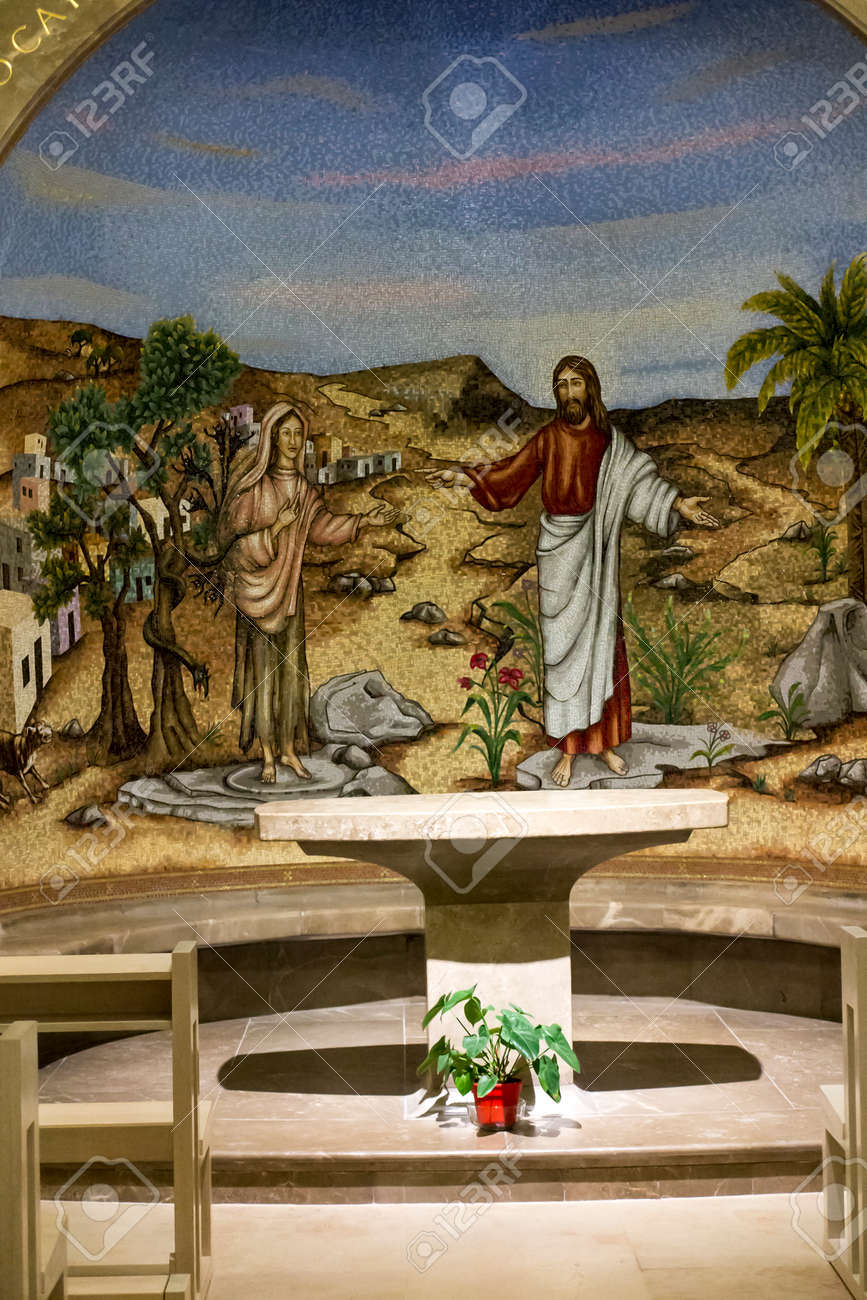 Magdala, Israel, January 26, 2020: Side altar in the church in Magdala on the Galilee Lake (Tiberiacn) with a mosaic depicting Jesus and Mary Magdalene who was left by seven evil spirits - 158013160